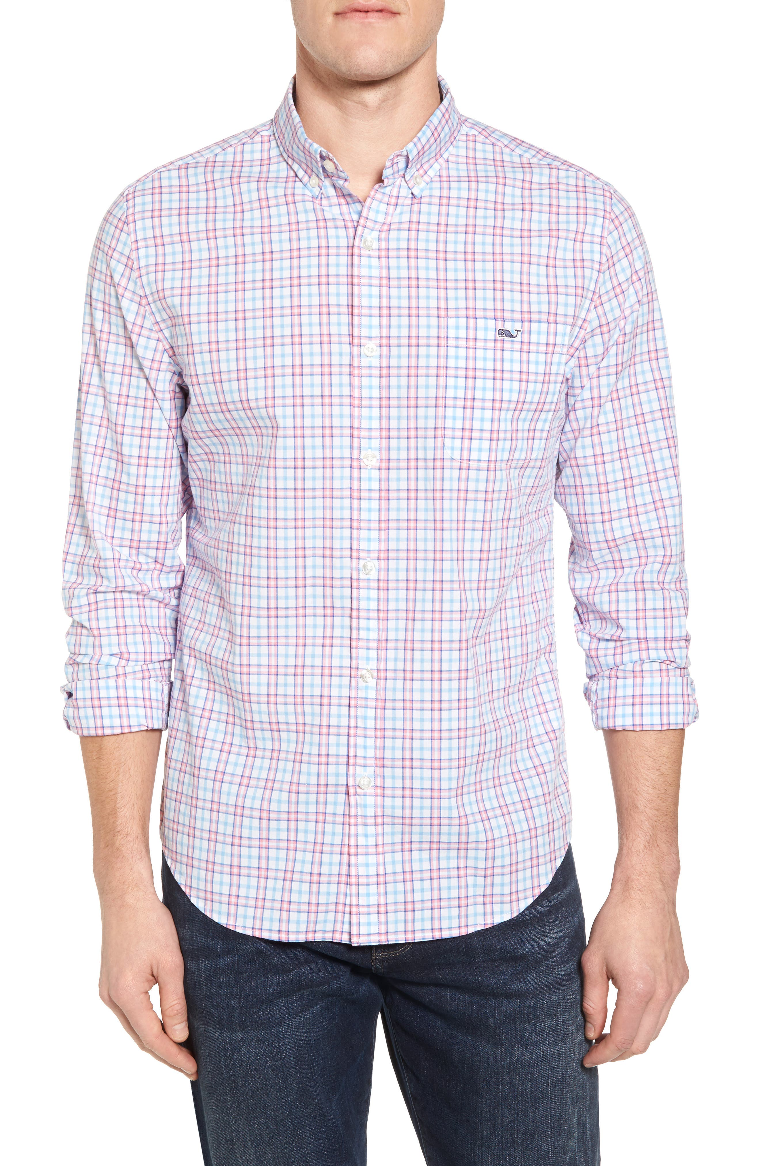 Kennard Tucker Slim Fit Plaid Sport Shirt,                         Main,                         color, Bahama Breeze