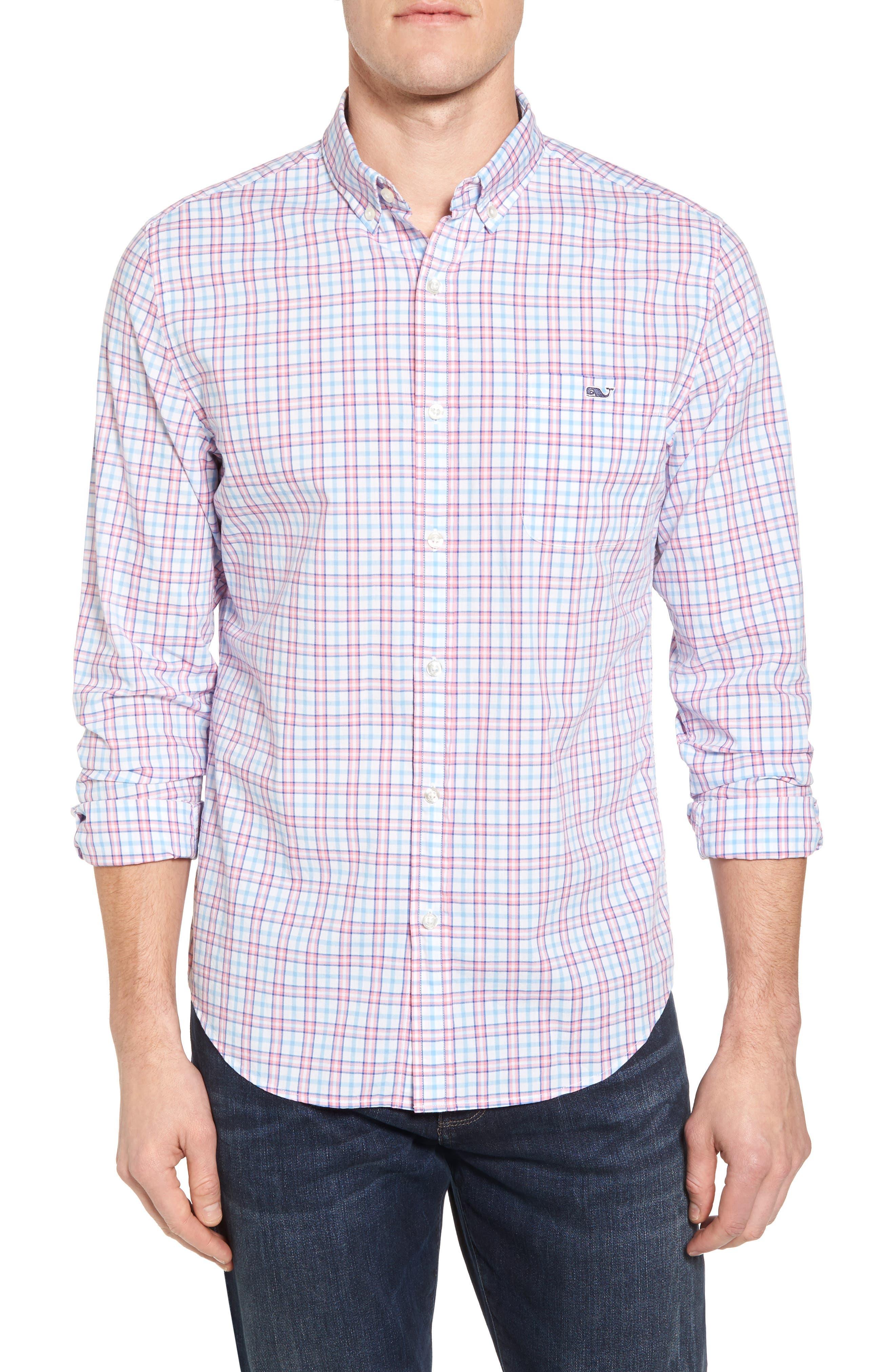 Kennard Tucker Slim Fit Plaid Sport Shirt,                         Main,                         color, Bahama Breeze