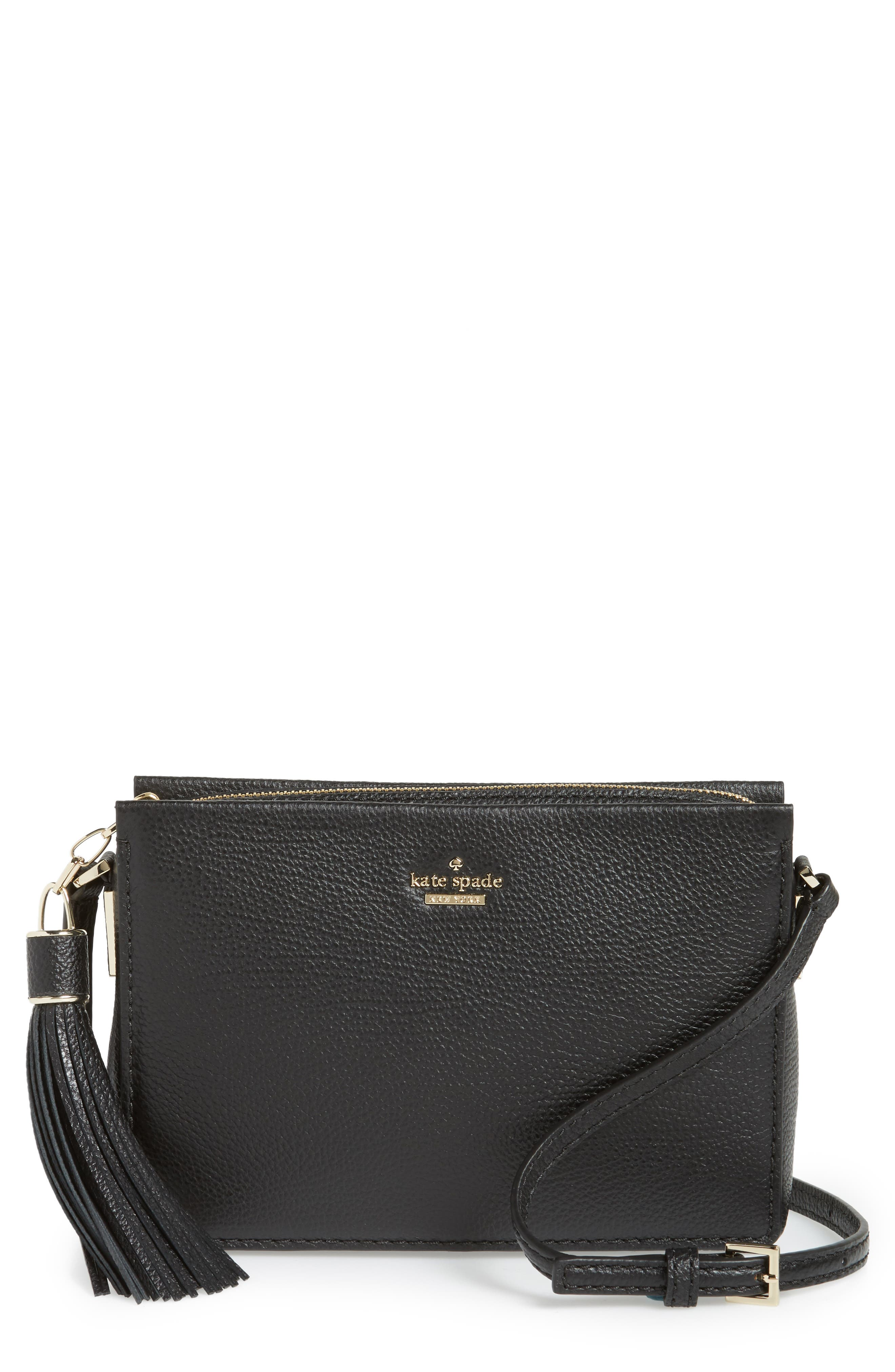 kingston drive - gillian leather crossbody bag,                             Main thumbnail 1, color,                             Black