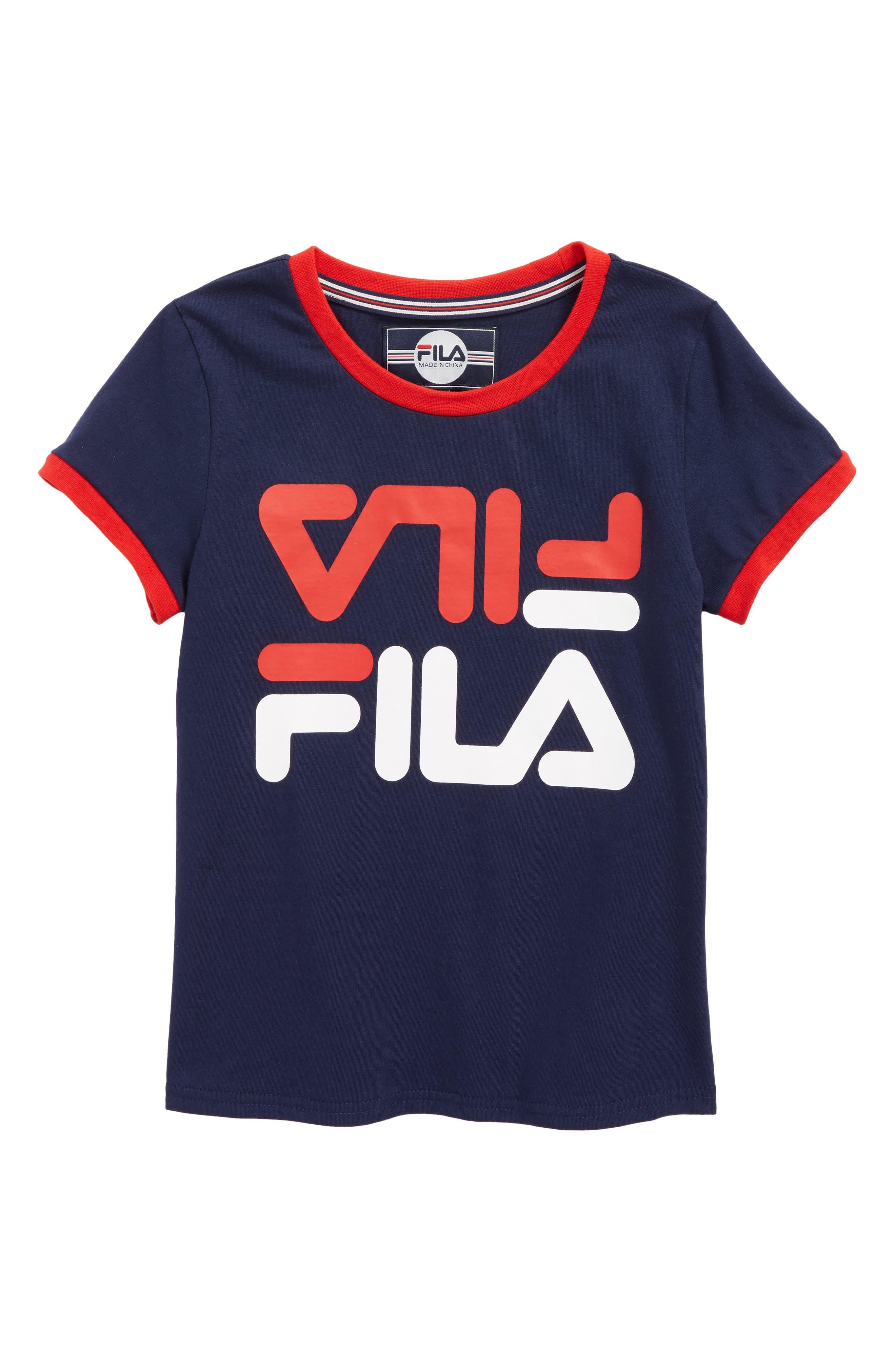 Alternate Image 1 Selected - FILA Logo Graphic Ringer Tee (Big Girls)