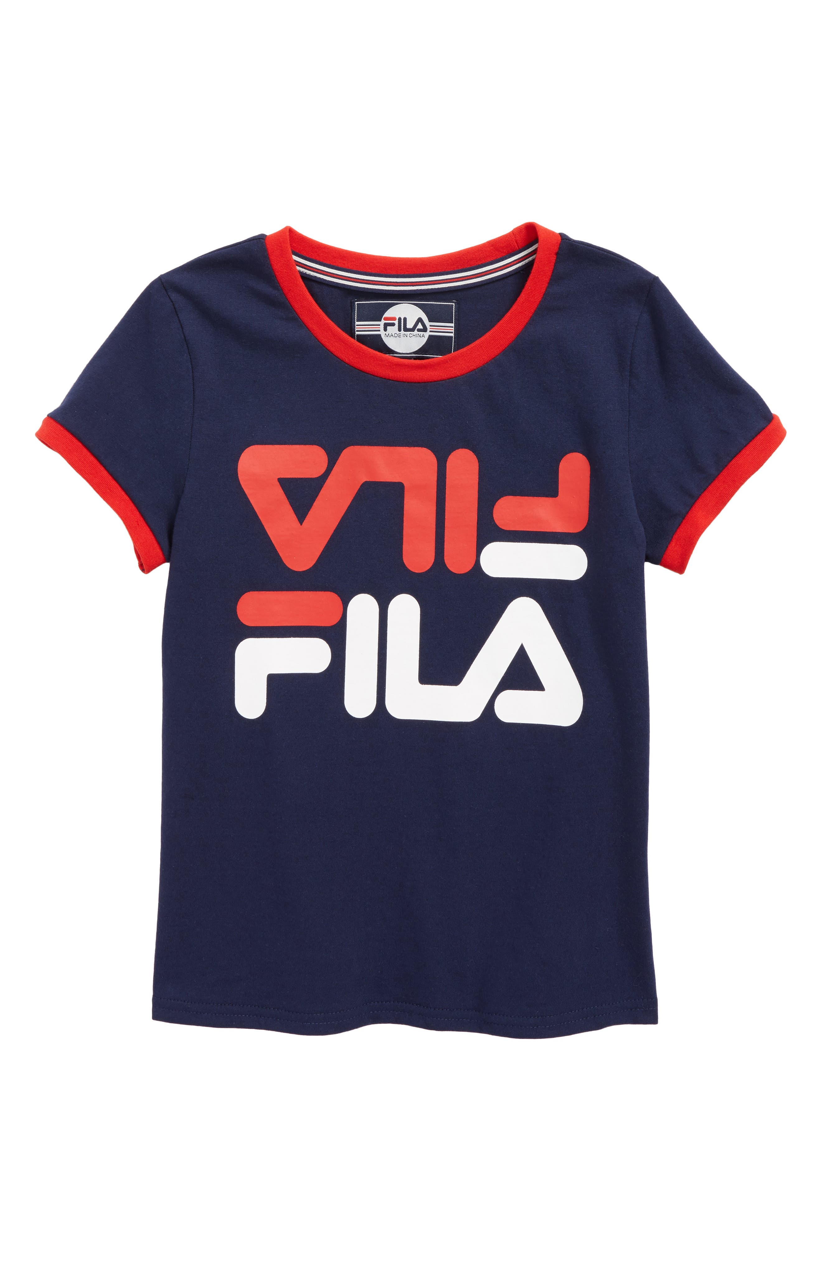Logo Graphic Ringer Tee,                         Main,                         color, Navy/ Red