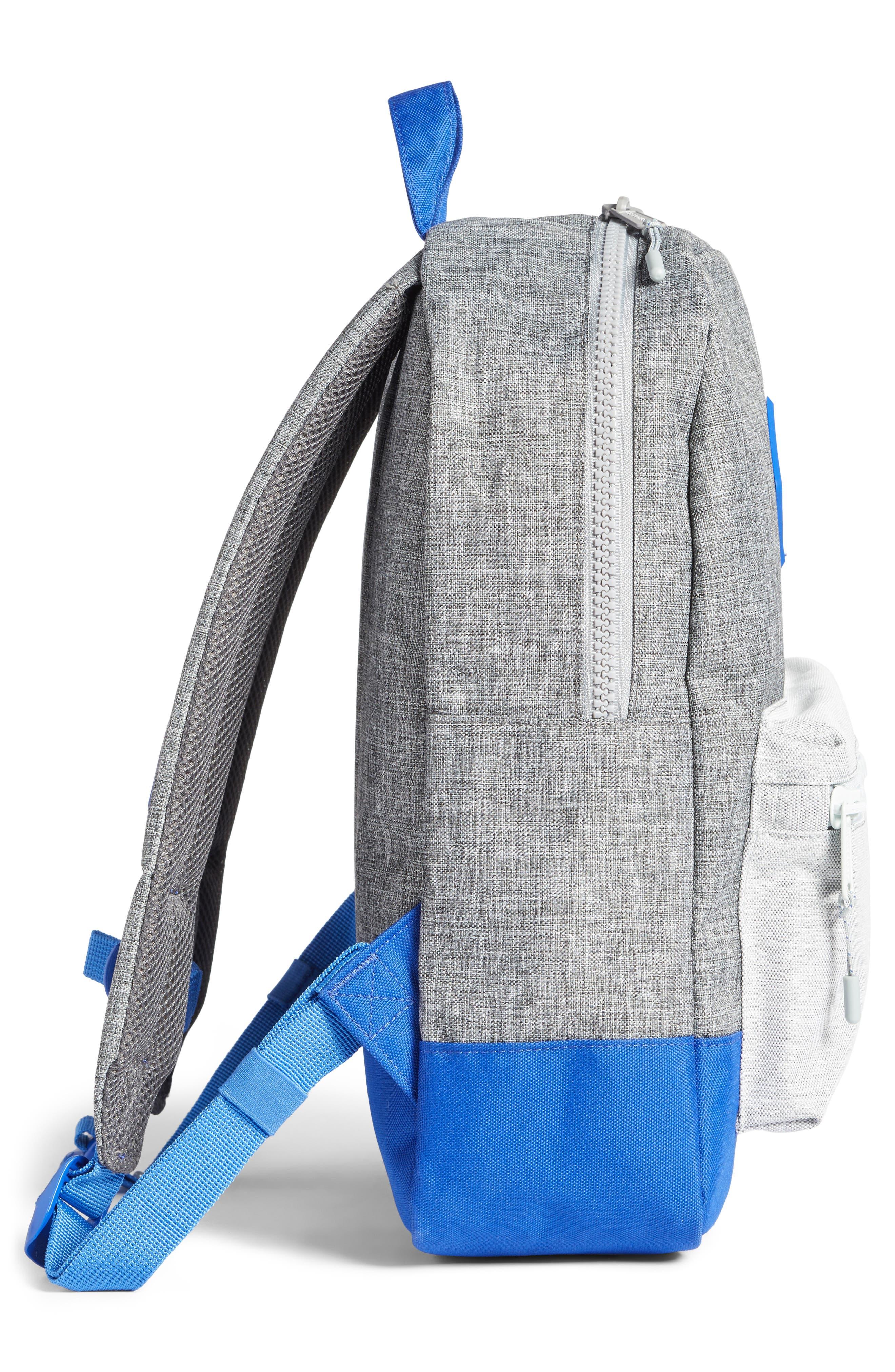 Heritage Colorblocked Backpack,                             Alternate thumbnail 4, color,                             Raven Crosshatch/ Surf Blue
