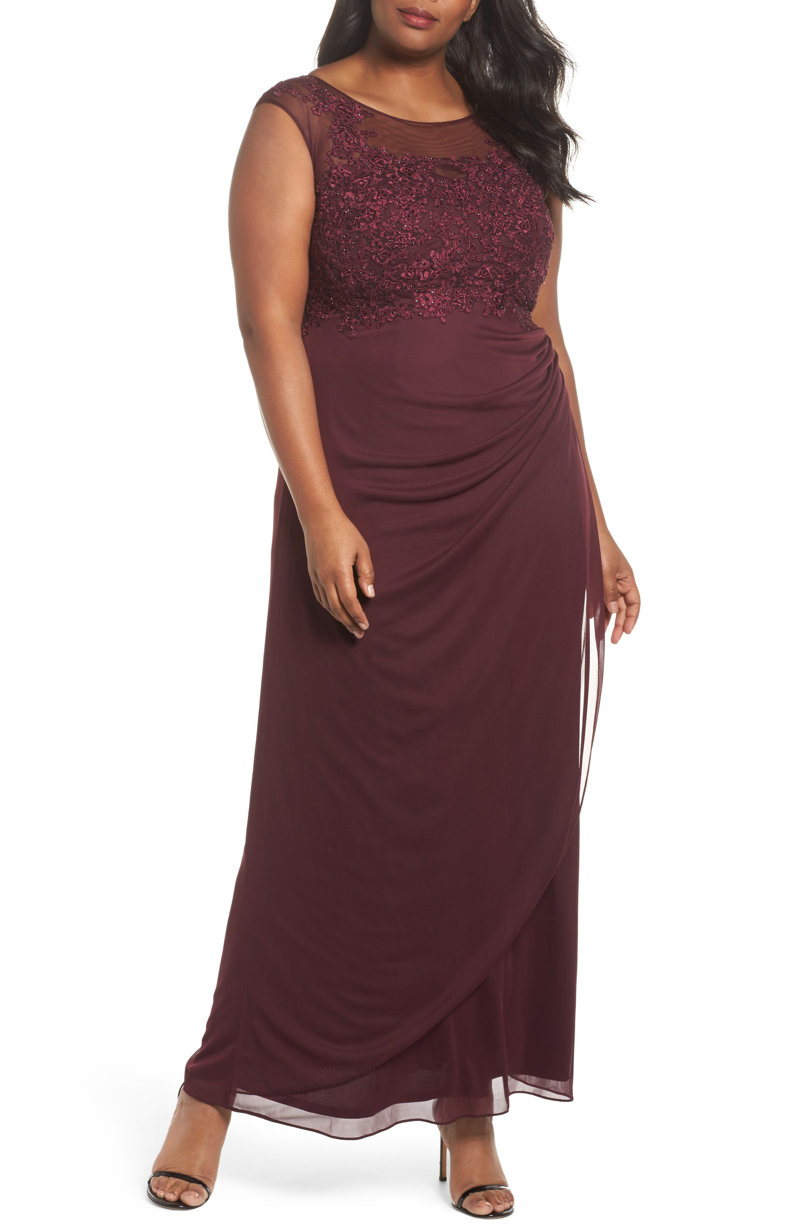 Embellished Ruched Jersey Gown,                         Main,                         color, Wine