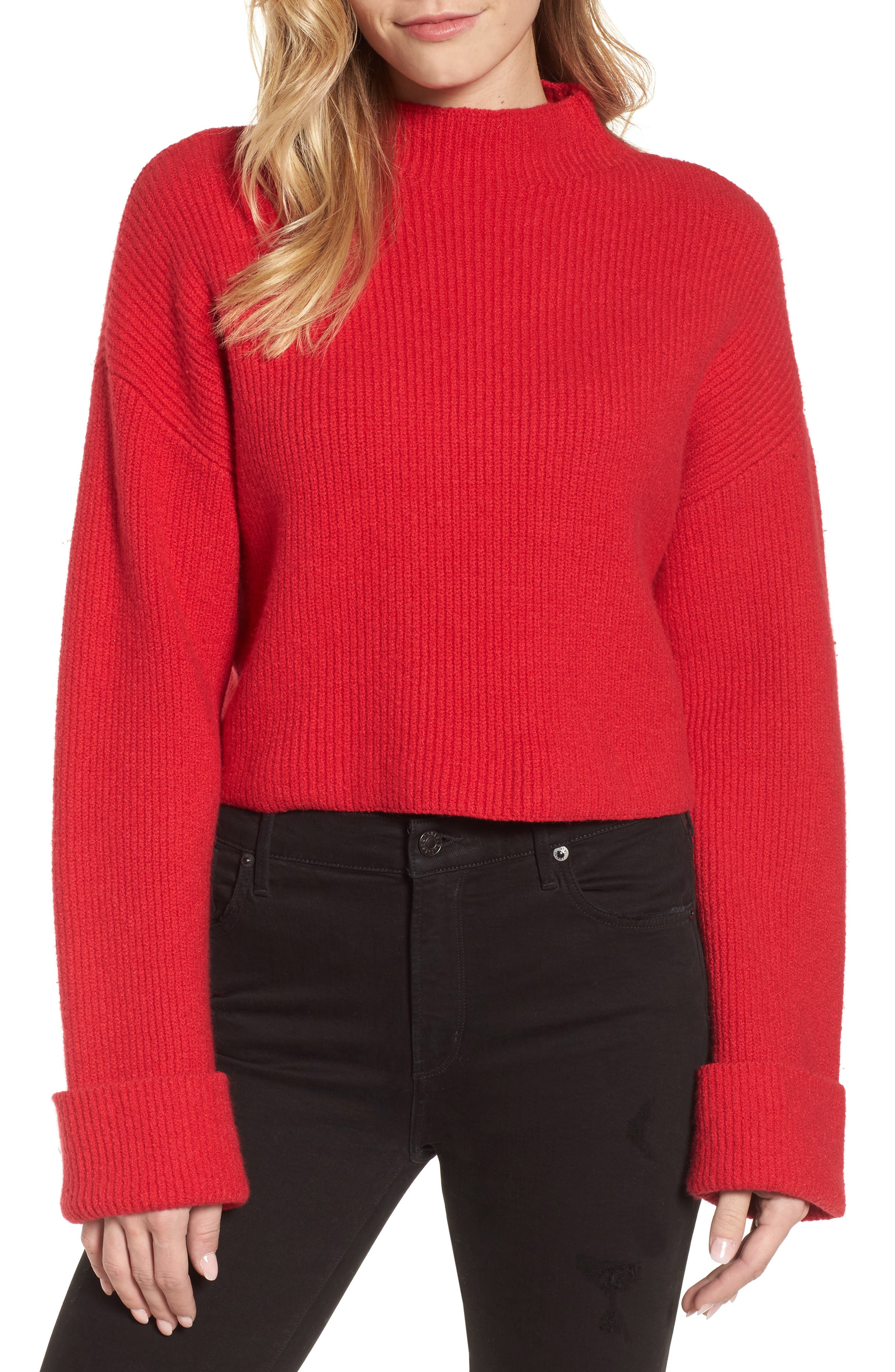 Wide Cuff Mock Neck Sweater,                         Main,                         color, Patriot Red