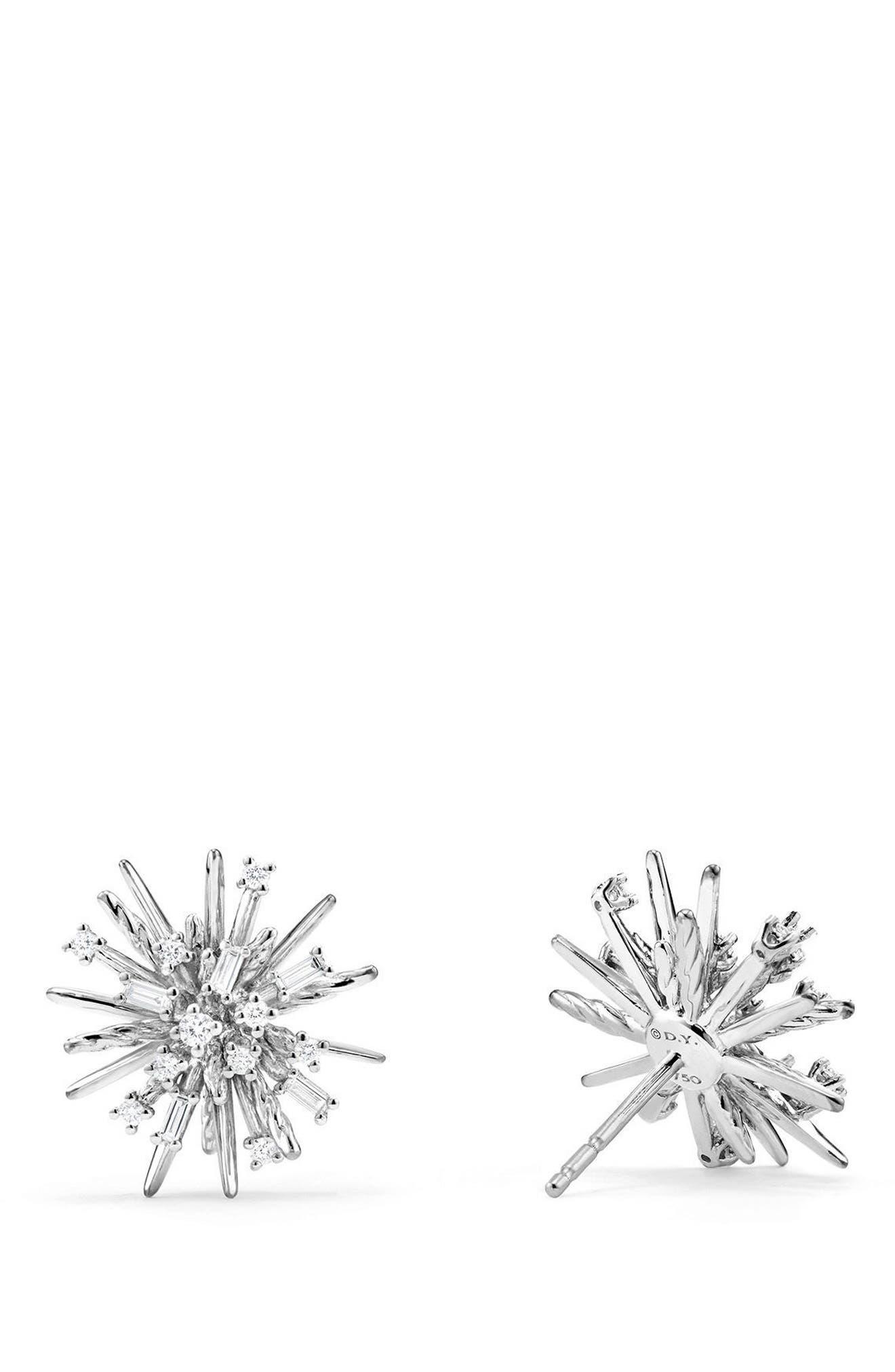 Supernova Stud Earrings with Diamonds in 18K White Gold,                             Alternate thumbnail 2, color,                             White Gold/ Diamond