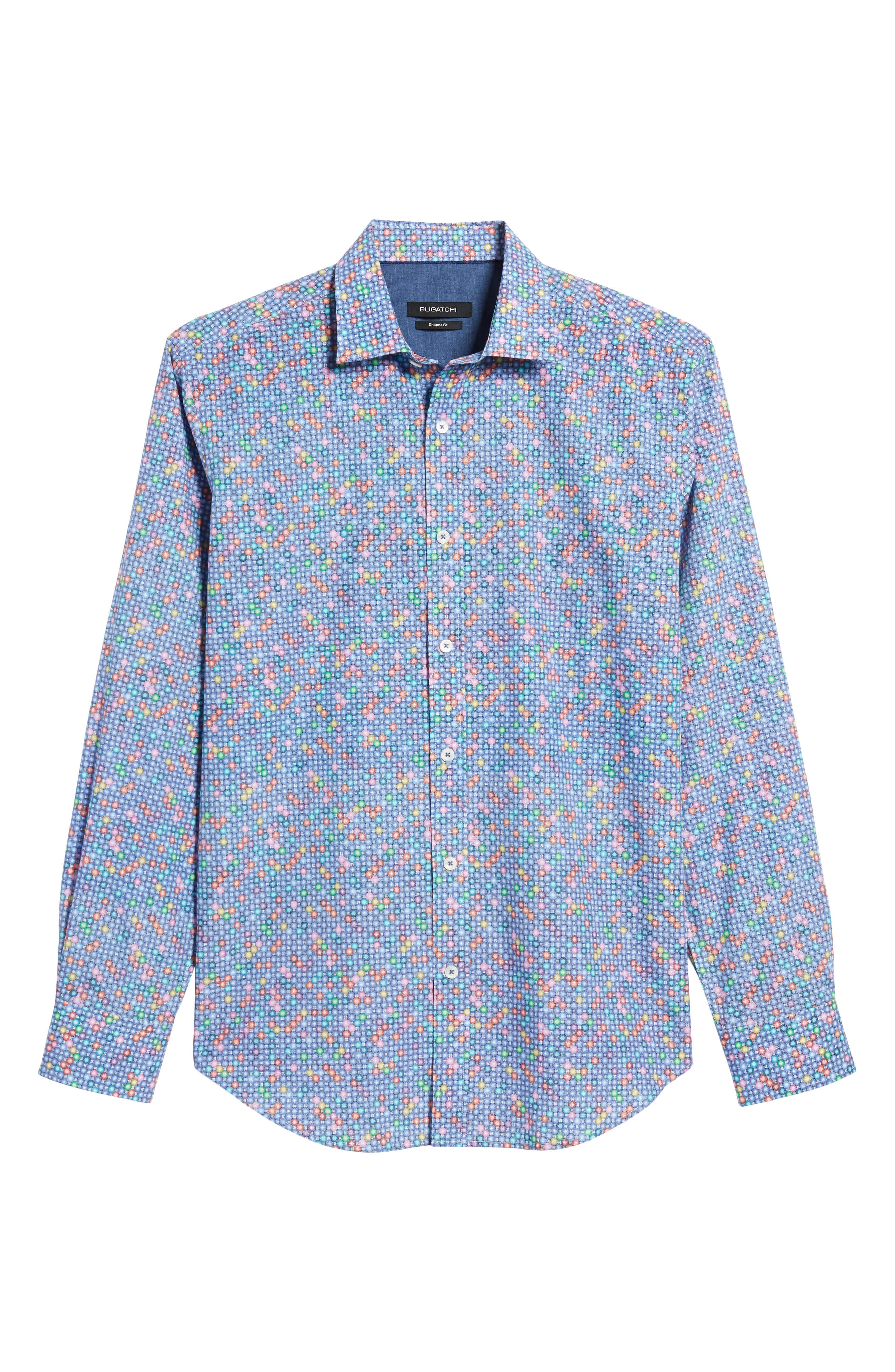 Shaped Fit Print Sport Shirt,                             Alternate thumbnail 6, color,                             Orchid