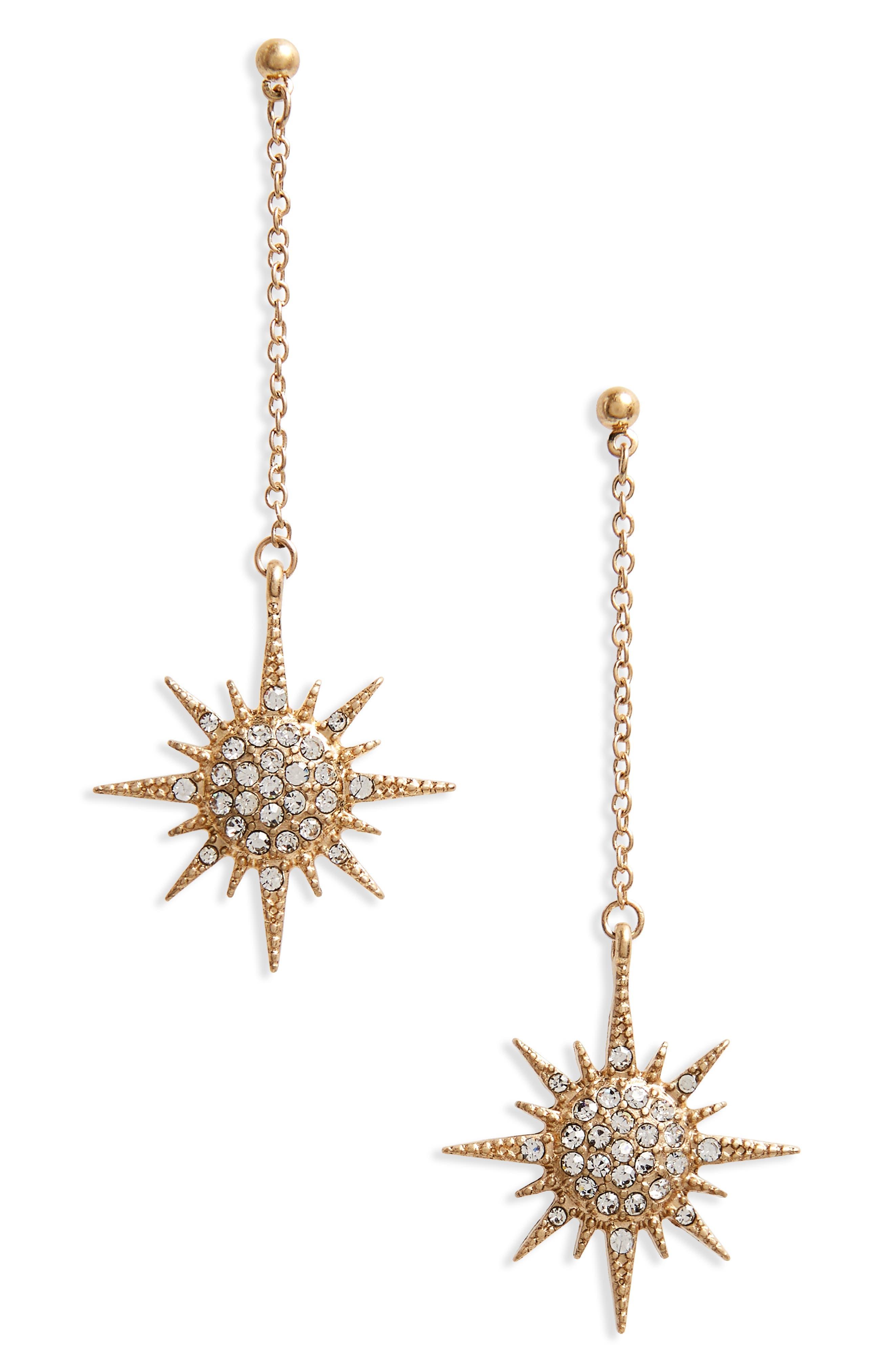 Starburst Crystal Drop Earrings,                         Main,                         color, Gold