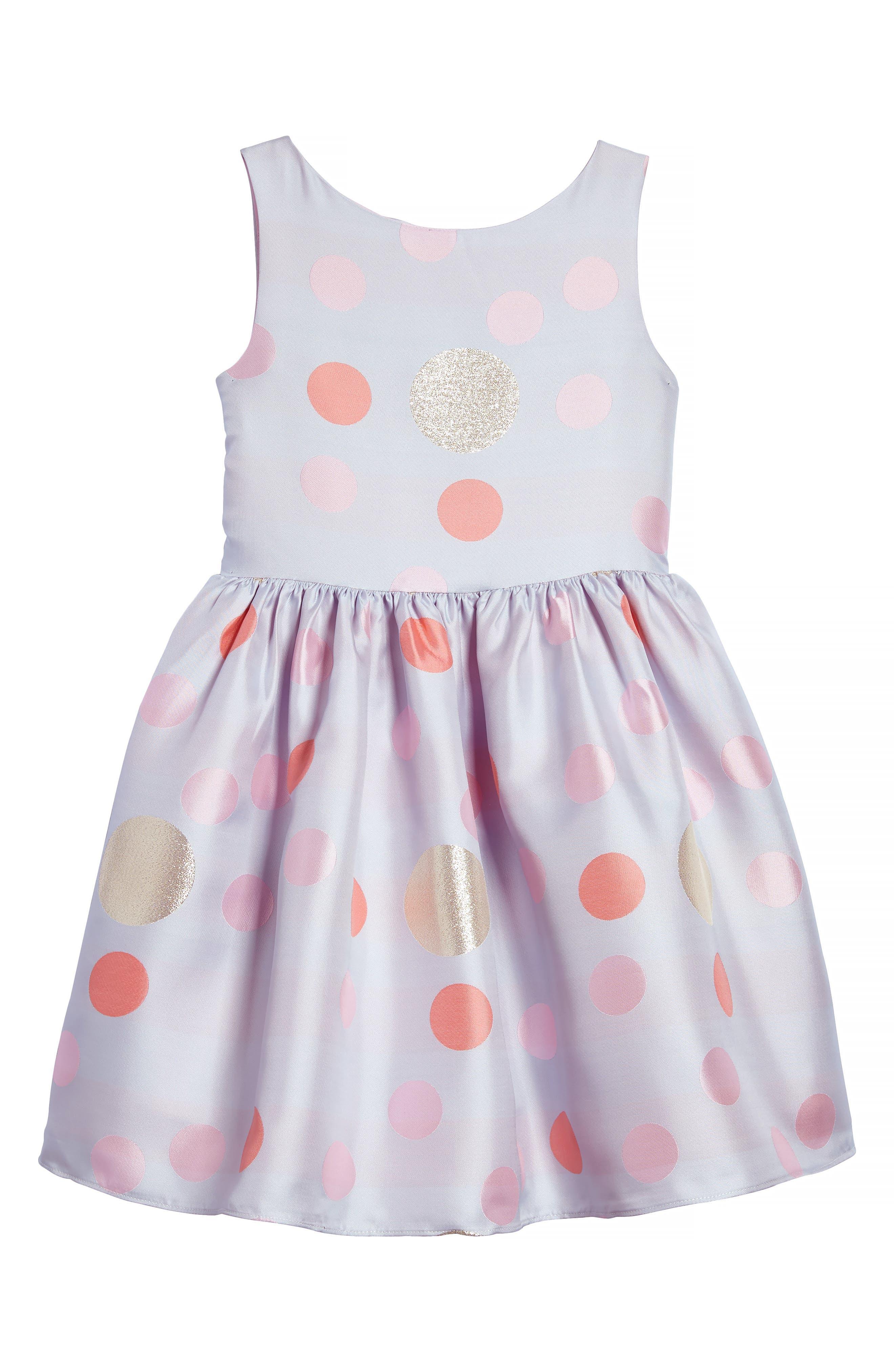 Main Image - Frais Metallic Polka Dot Dress (Toddler Girls, Little Girls & Big Girls)