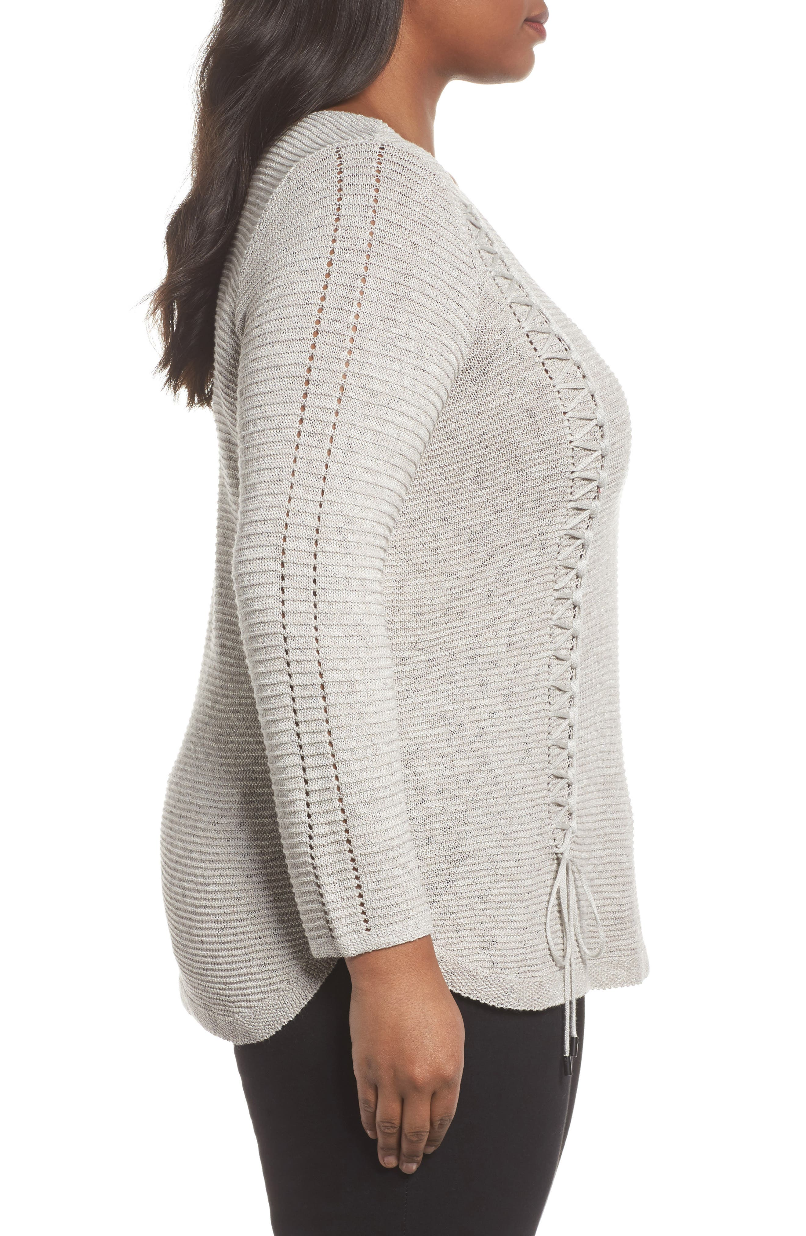 Alternate Image 3  - NIC+ZOE Braided Up Sweater (Plus Size)