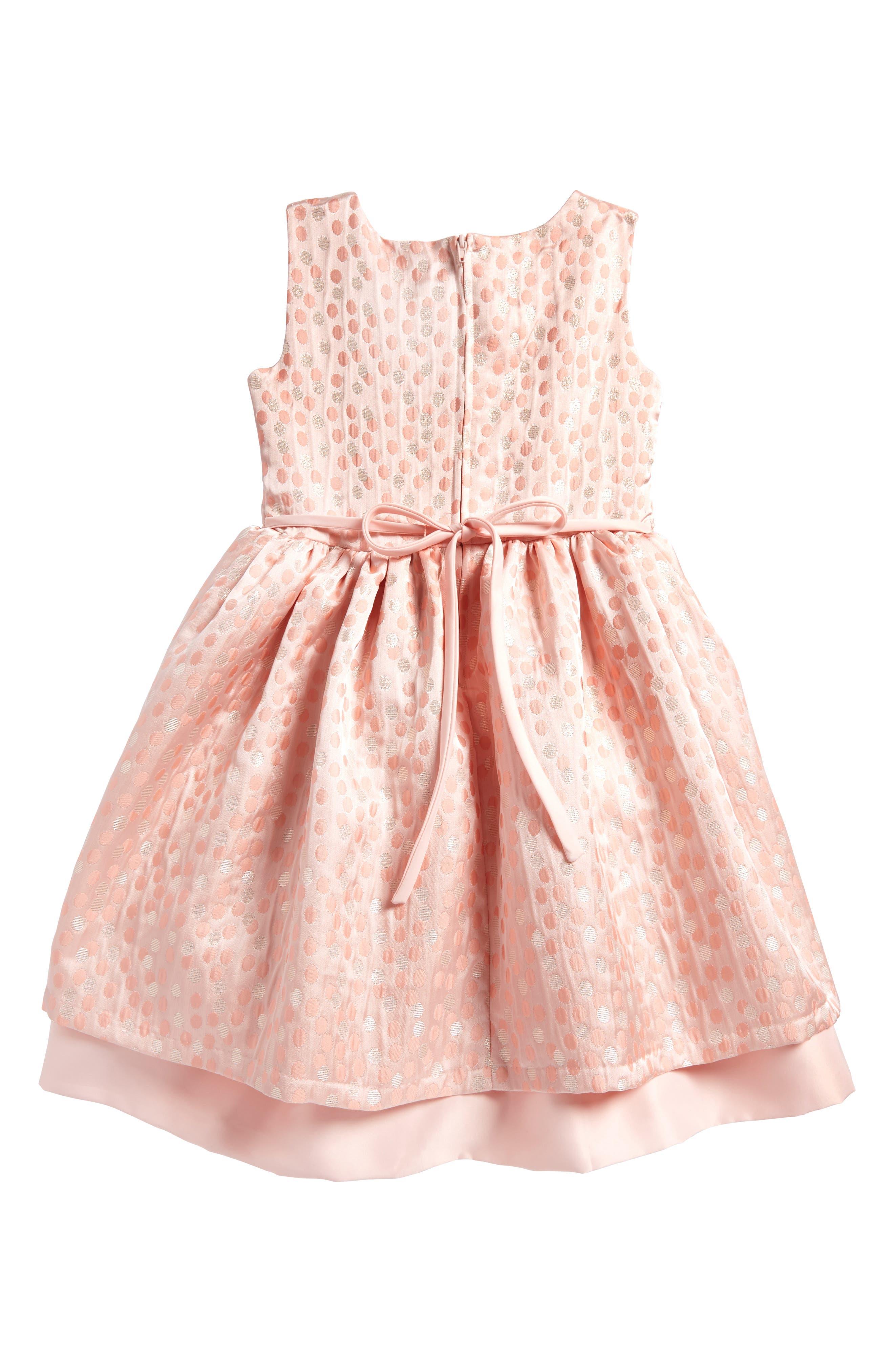 Metallic Dot Jacquard Dress,                             Alternate thumbnail 2, color,                             Peach
