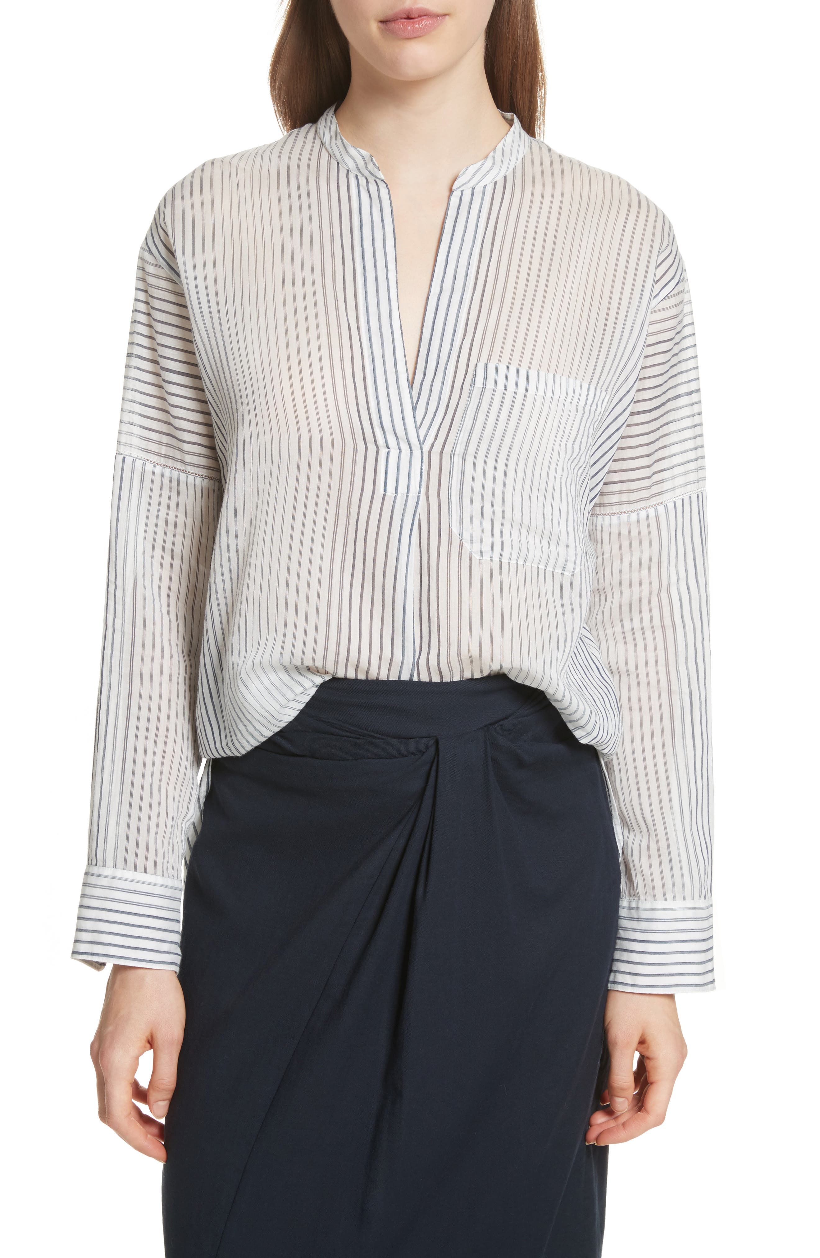 Pencil Stripe Cotton & Silk Tunic,                             Main thumbnail 1, color,                             Coastal