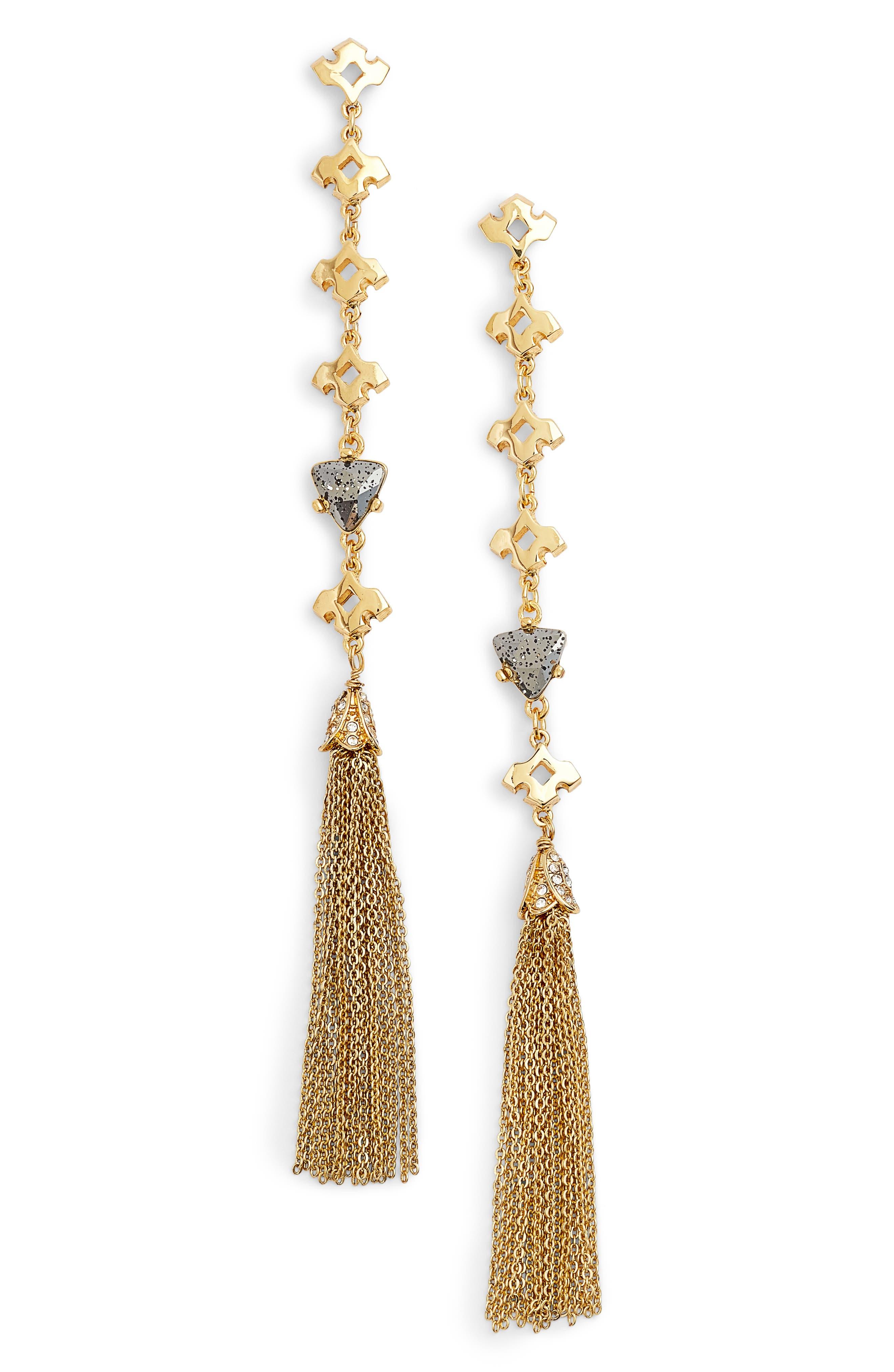 Tassel Drop Earrings,                             Main thumbnail 1, color,                             Gold