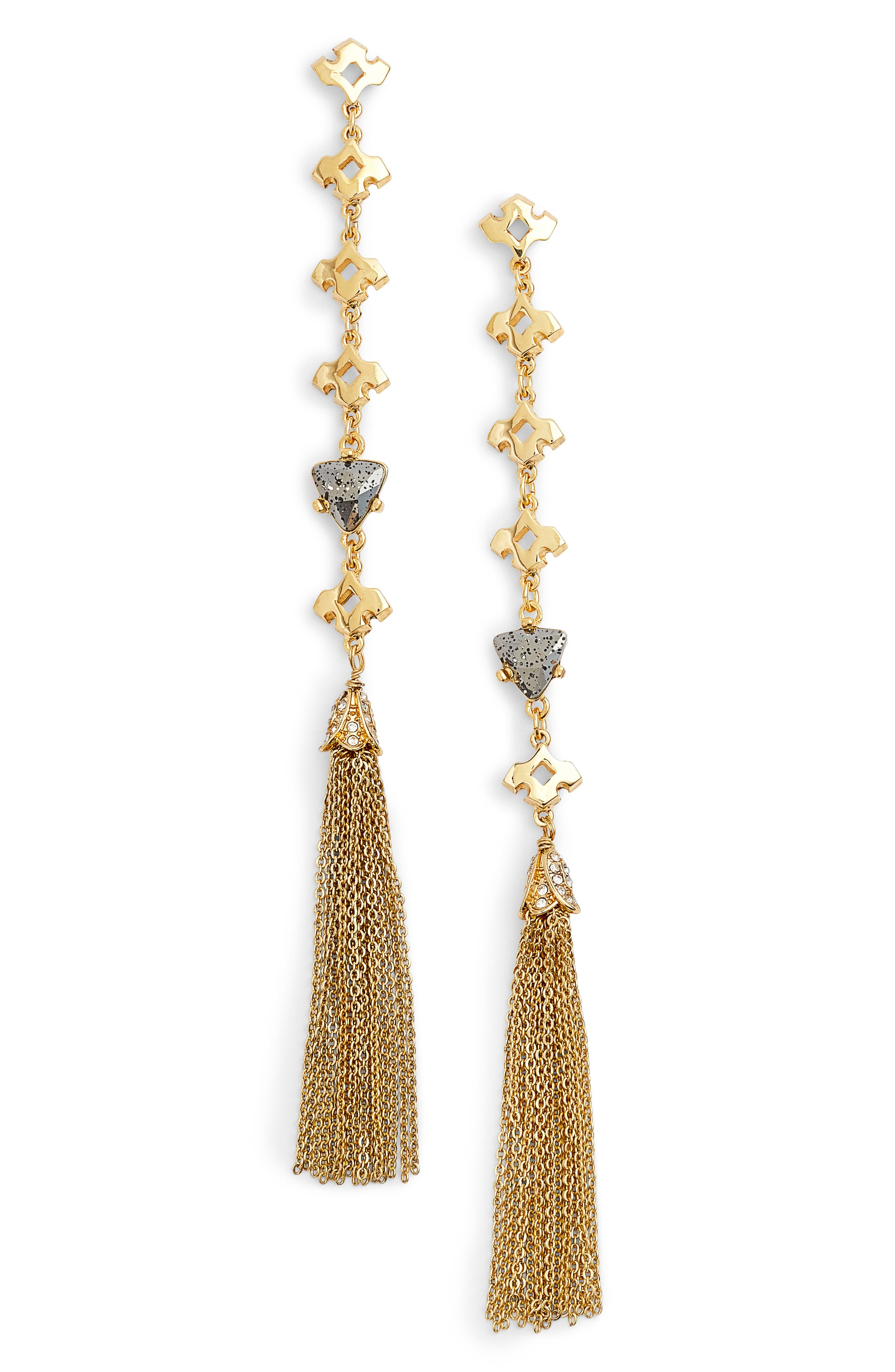 Tassel Drop Earrings,                         Main,                         color, Gold