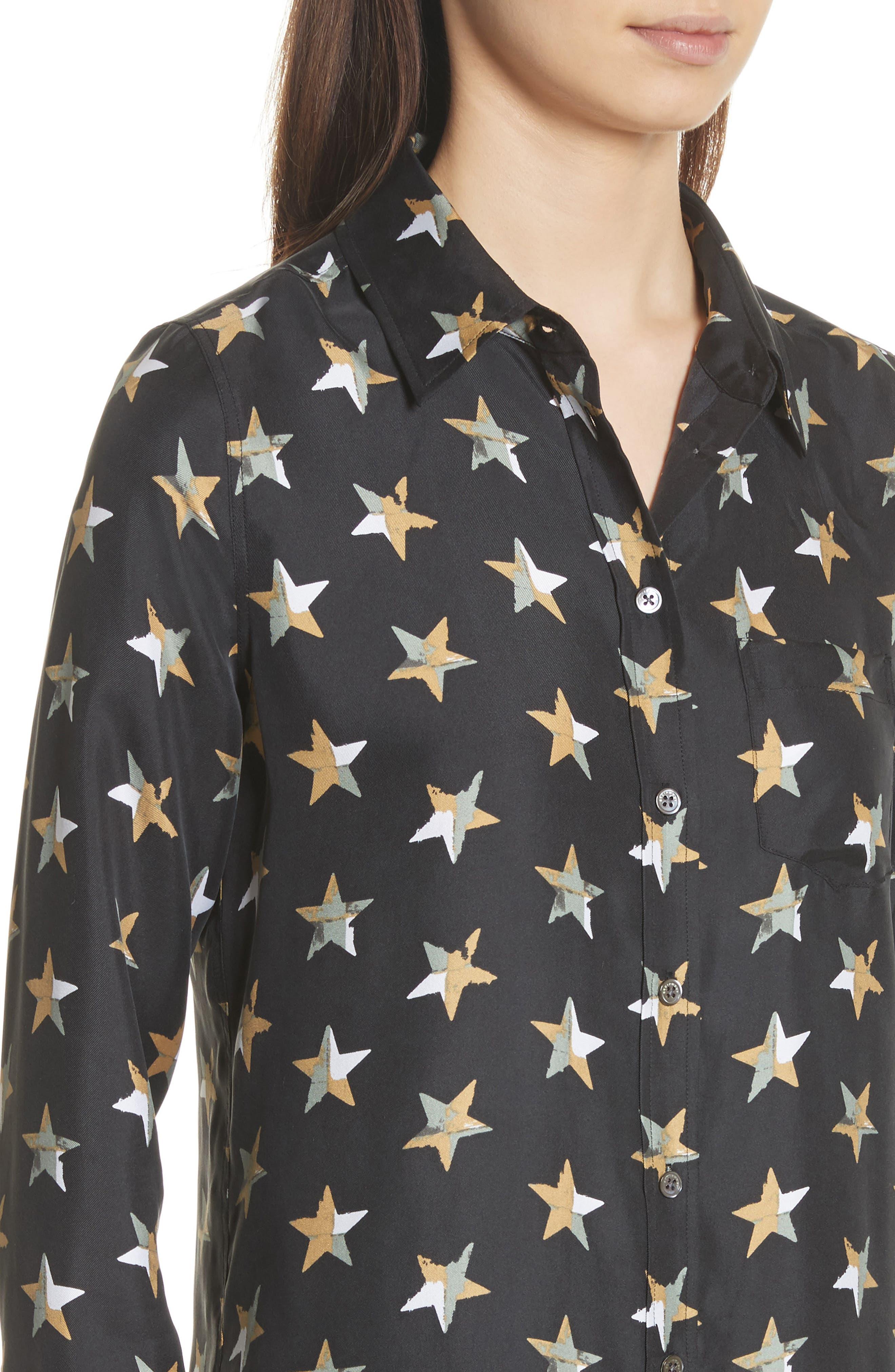 Brett Star Print Silk Shirtdress,                             Alternate thumbnail 4, color,                             True Black Multi