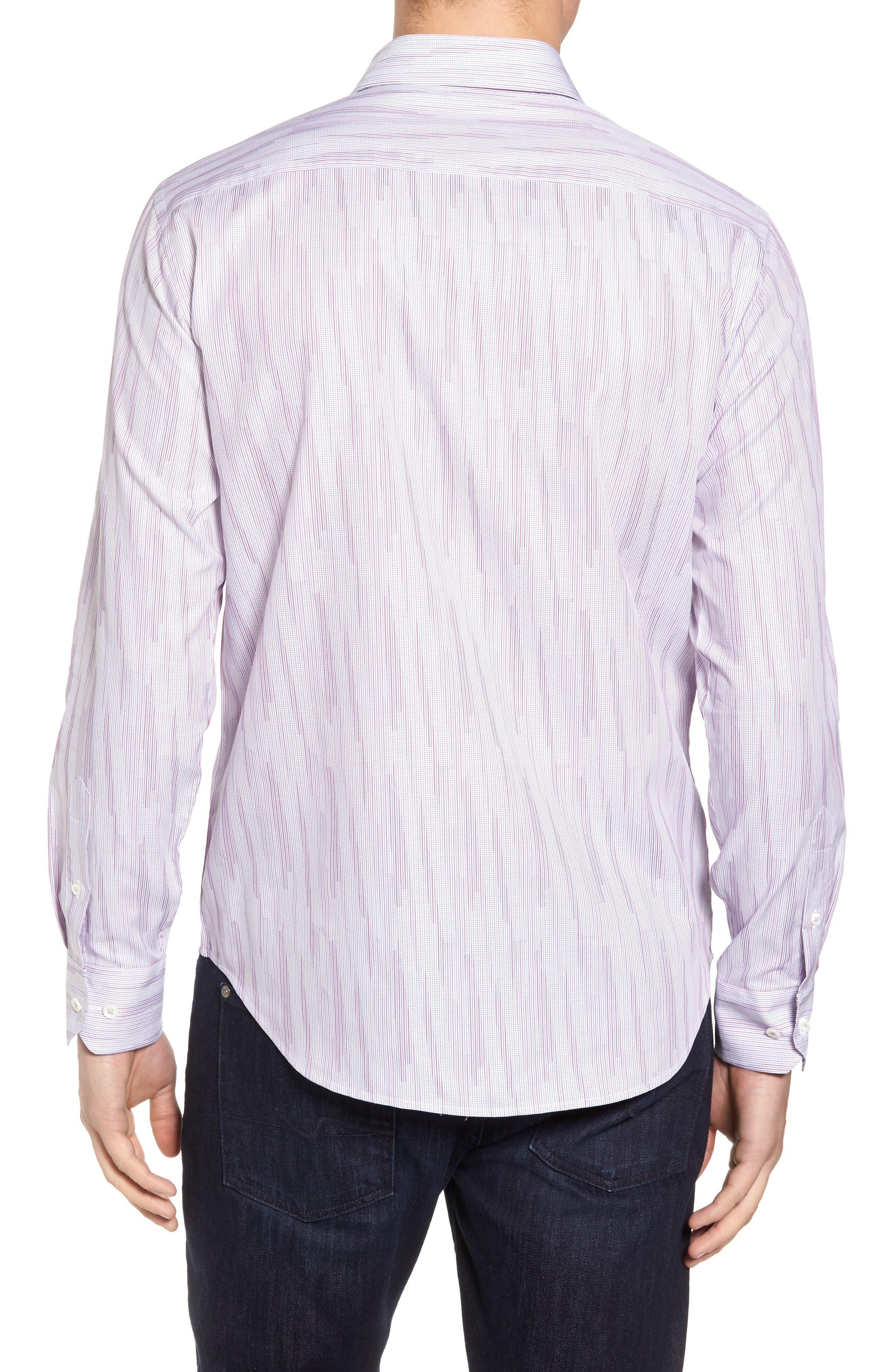 Classic Fit Print Sport Shirt,                             Alternate thumbnail 2, color,                             Berry