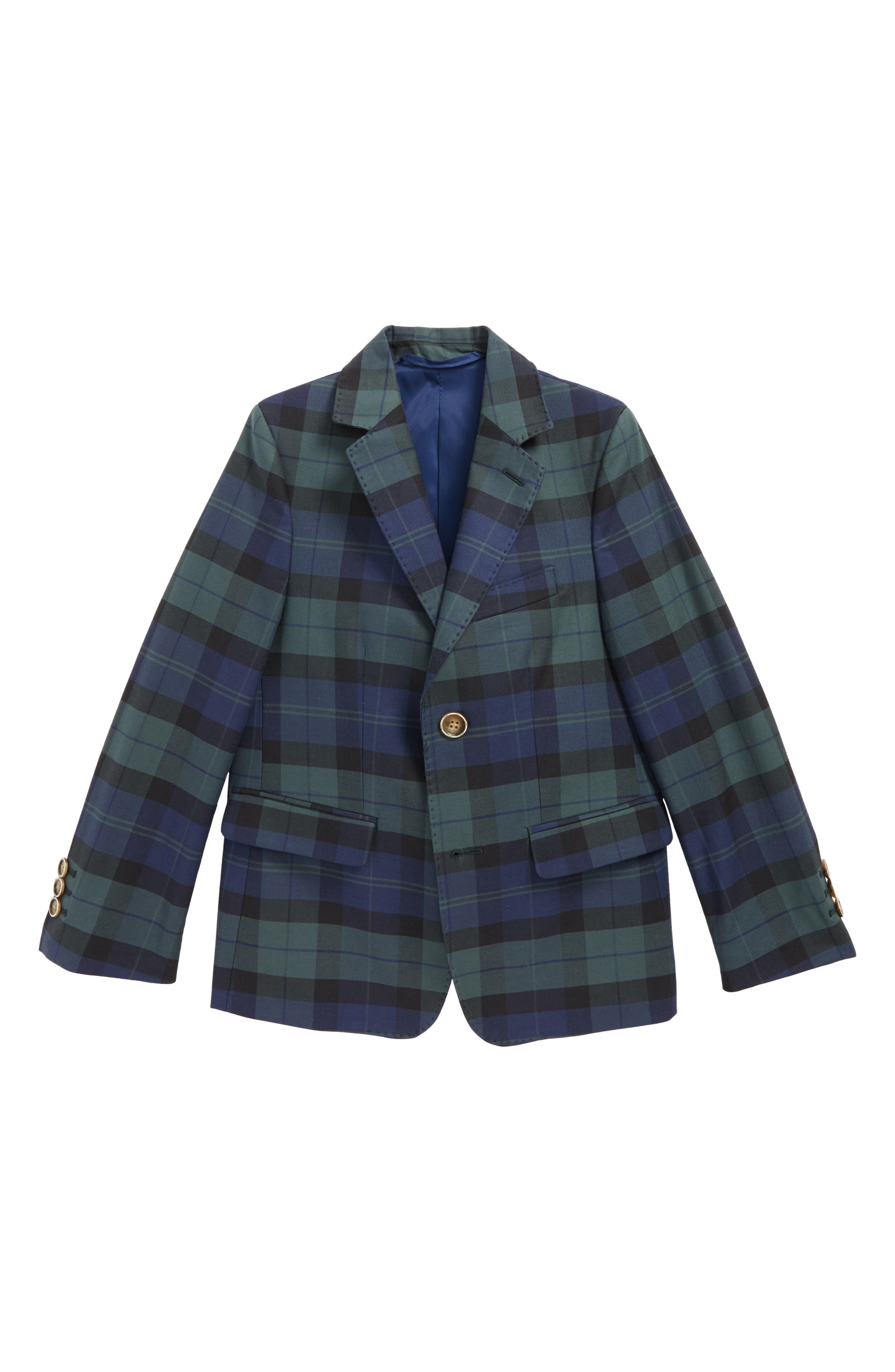 Holiday Tartan Plaid Blazer,                         Main,                         color, Baltic Blue