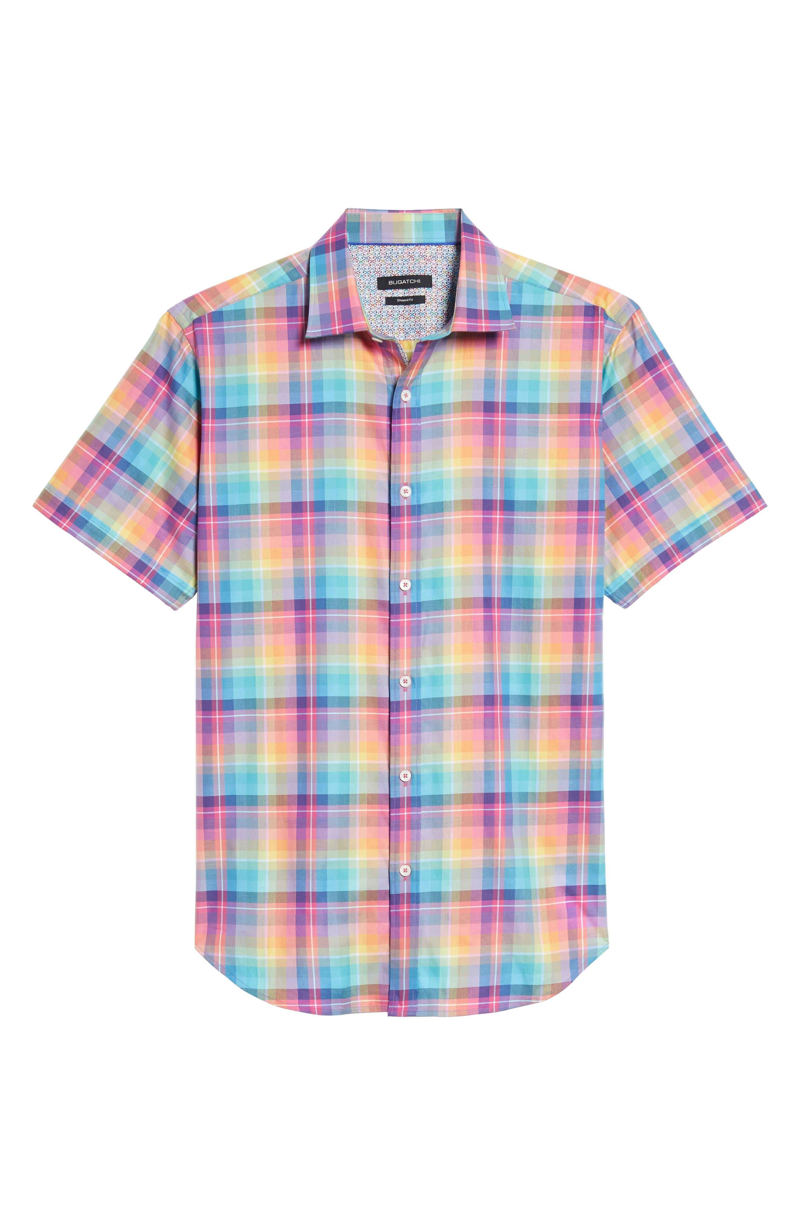 Shaped Fit Plaid Sport Shirt,                             Alternate thumbnail 6, color,                             Paradise