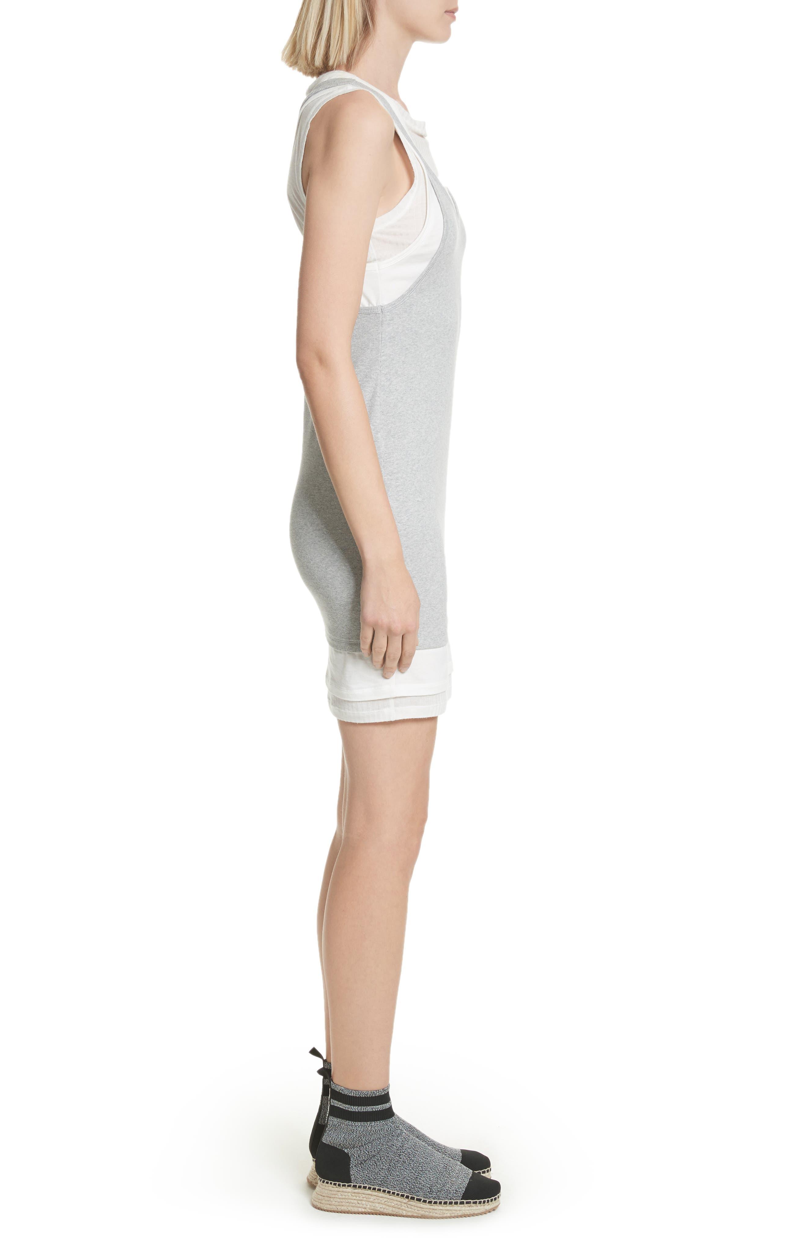 Alexander Wang Layered Mixed Media Dress,                             Alternate thumbnail 3, color,                             Heather Grey Off White