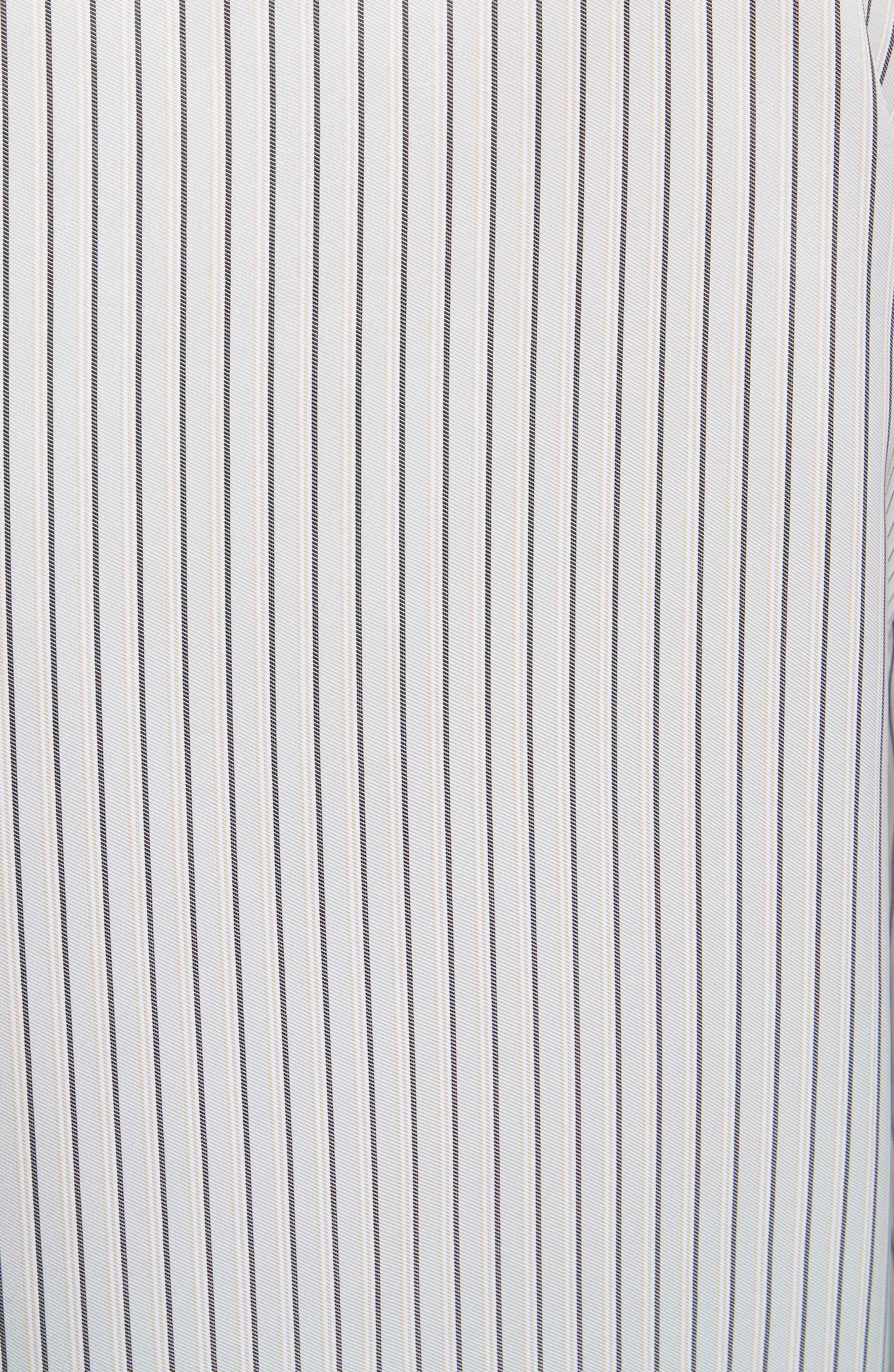 Stripe Cold Shoulder Satin Tunic,                             Alternate thumbnail 5, color,                             Blue/ Silver Stripe