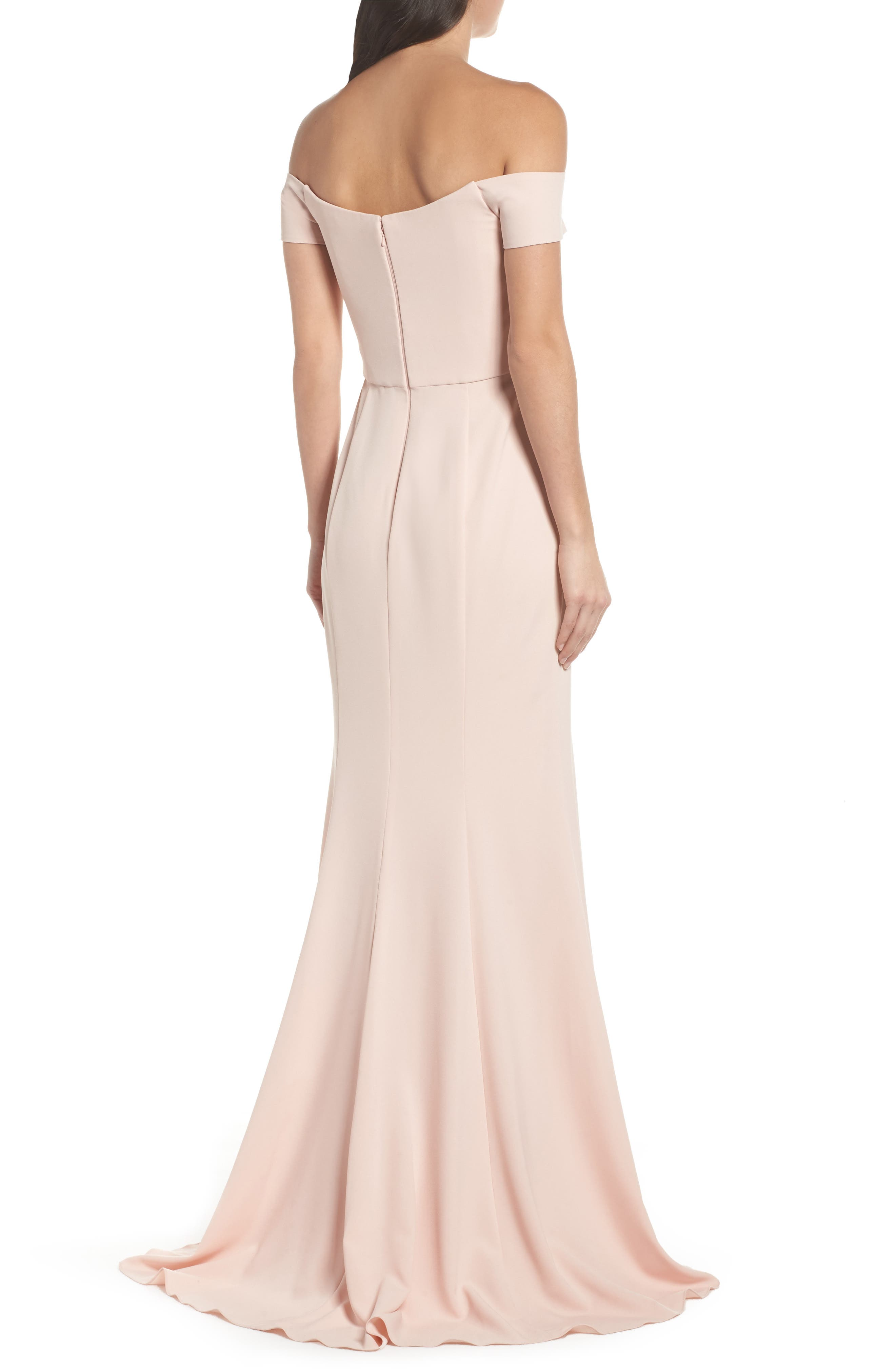 Off the Shoulder Crepe Gown,                             Alternate thumbnail 2, color,                             Blush
