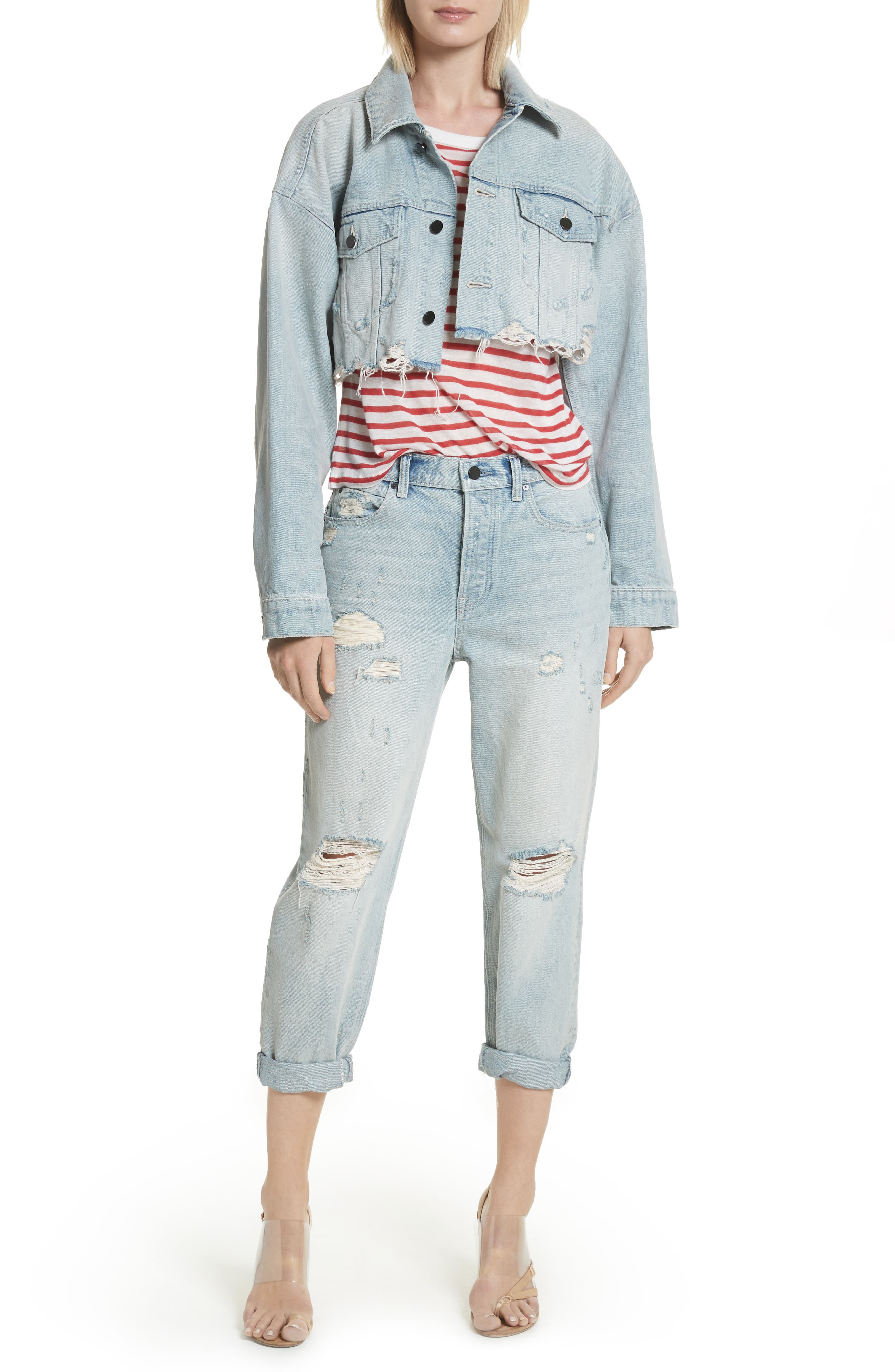 Distressed Boyfriend Jeans,                             Alternate thumbnail 7, color,                             Vintage Bleach