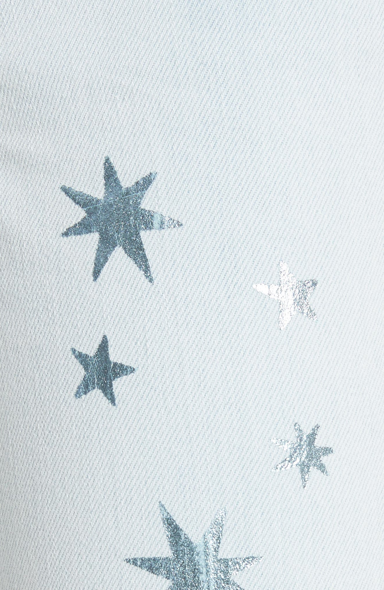 Metallic Star Kick Flare Jeans,                             Alternate thumbnail 5, color,                             Sun Faded Blue
