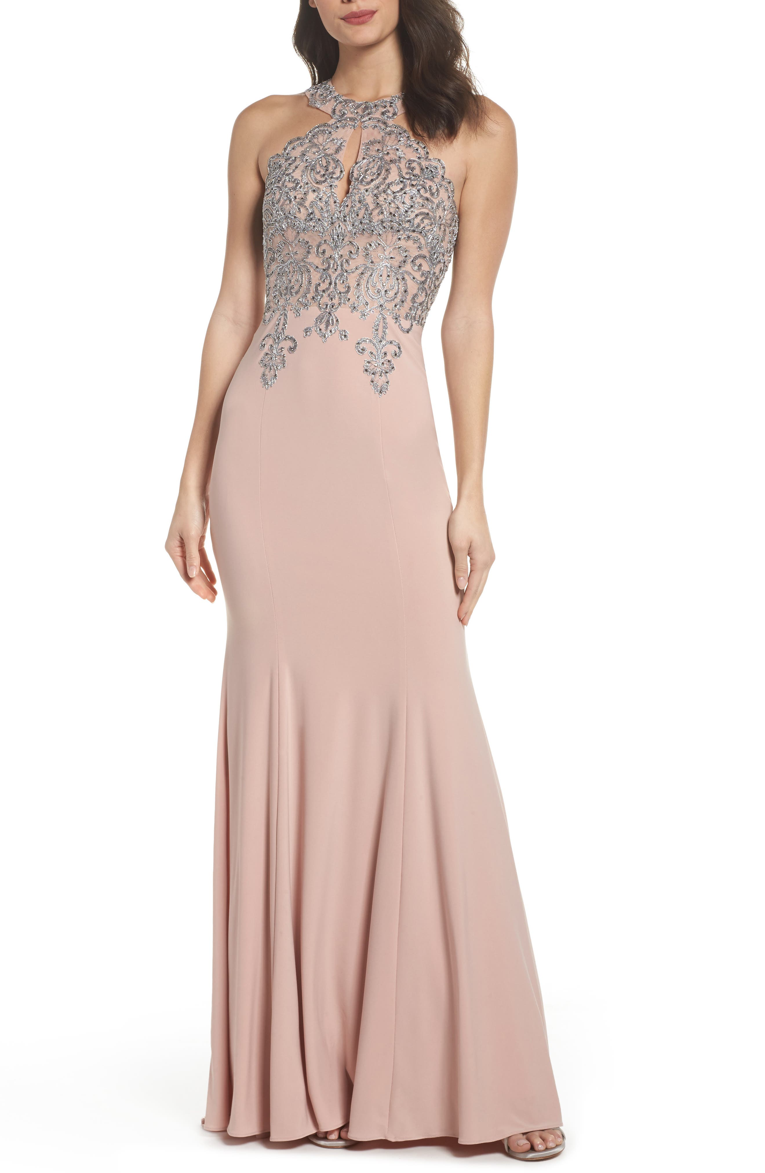 Embellished Embroidered Gown,                             Main thumbnail 1, color,                             Blush/ Gunmetal