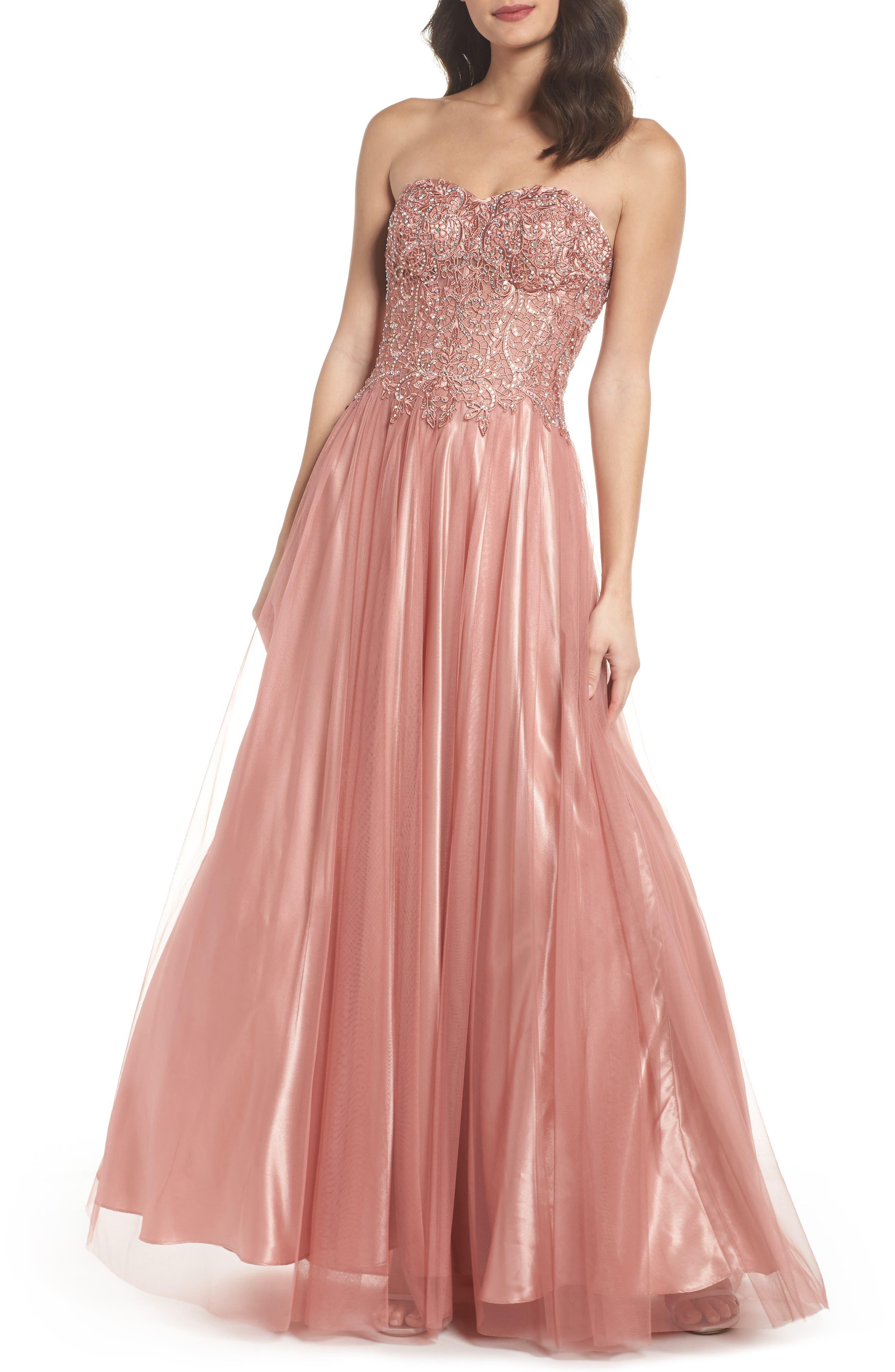 Embellished Corset Ballgown,                             Main thumbnail 1, color,                             Rose