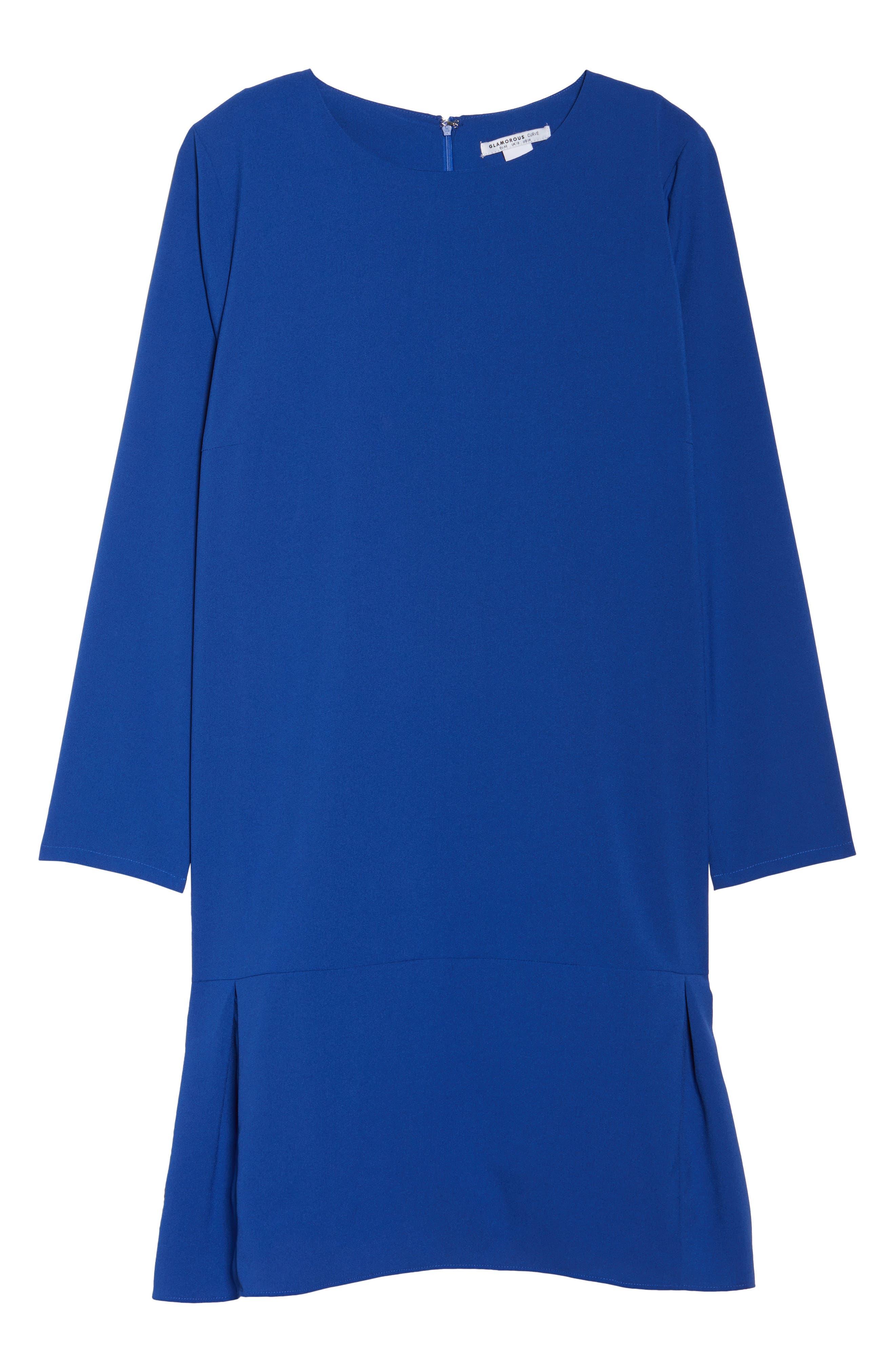 Long Sleeve Shift Dress,                             Alternate thumbnail 6, color,                             Cobalt
