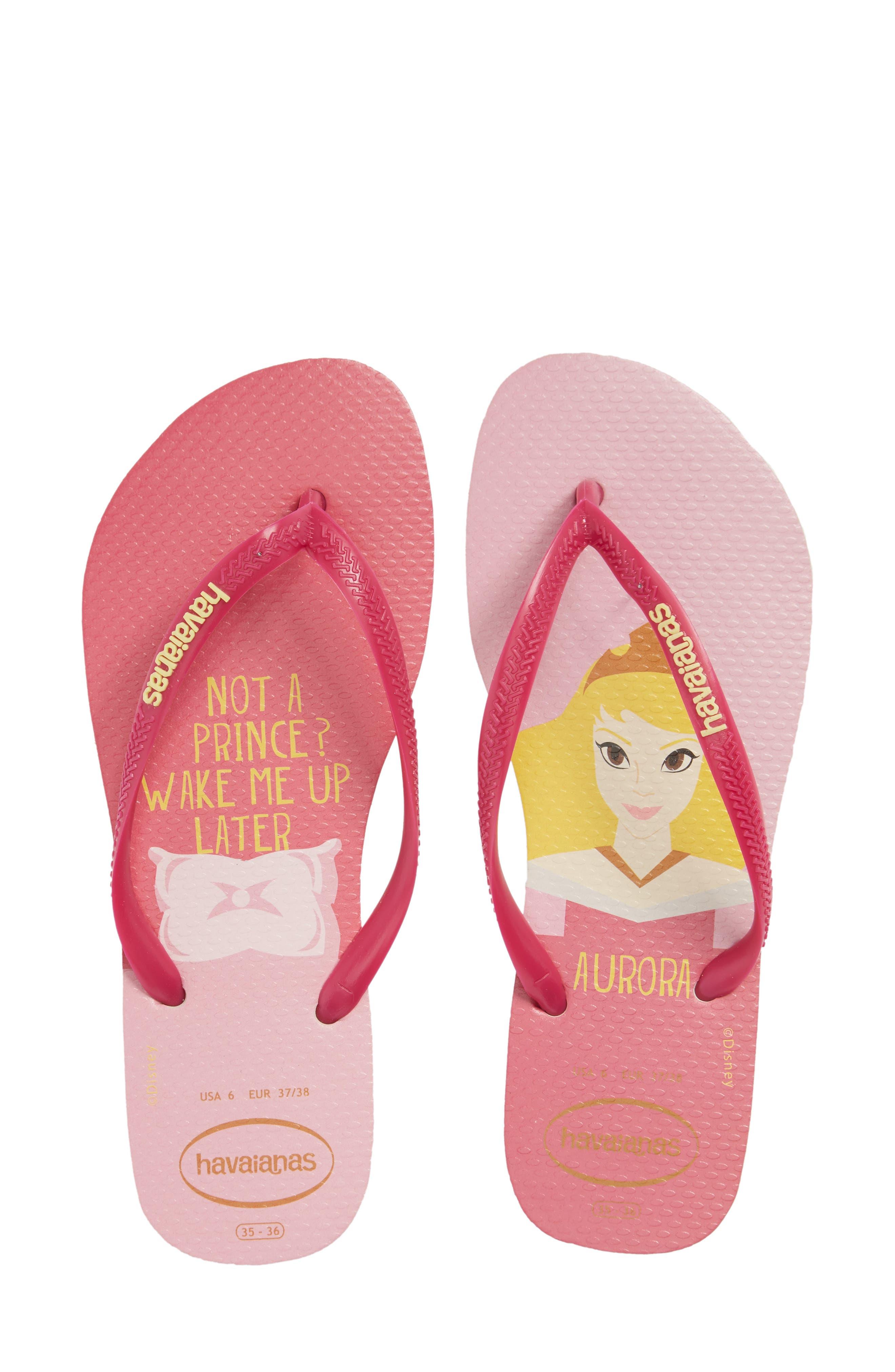 Havaiana Slim - Disney Princess Flip Flop,                             Main thumbnail 1, color,                             Beige/ Pink