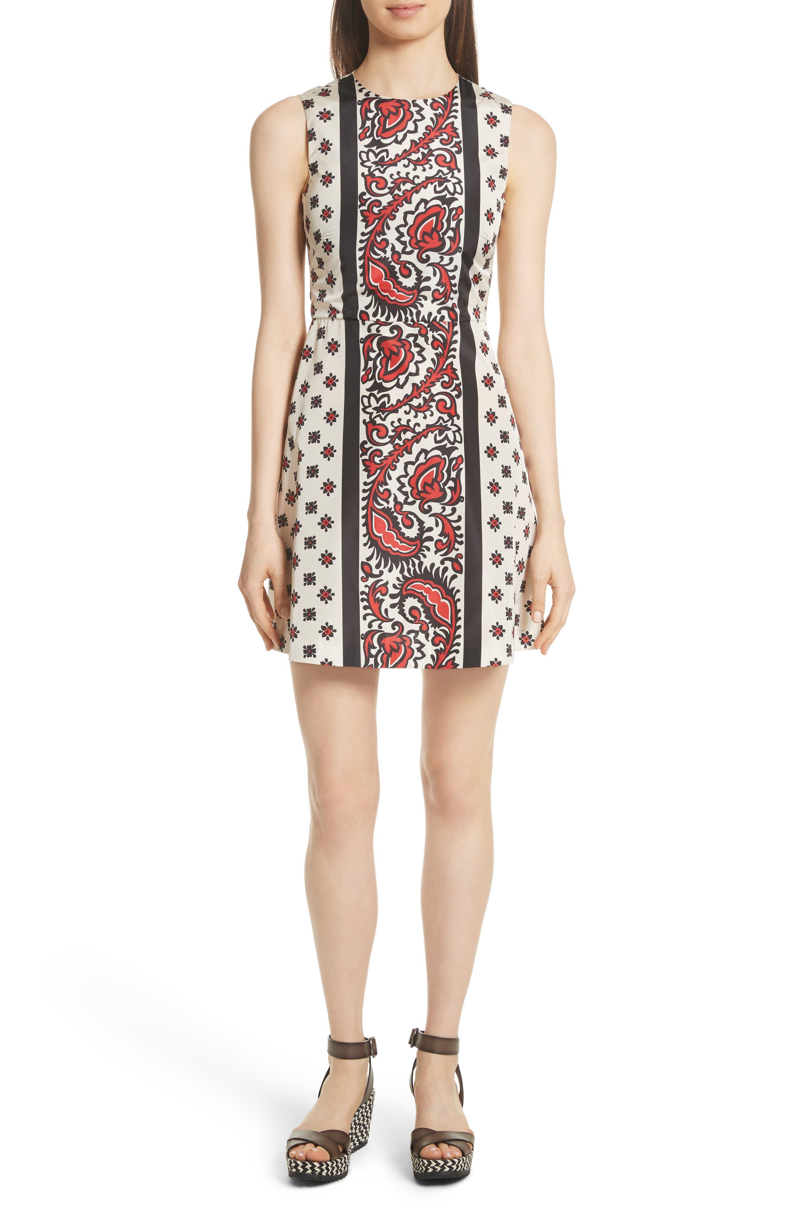 Print A-Line Dress,                         Main,                         color, Cherry