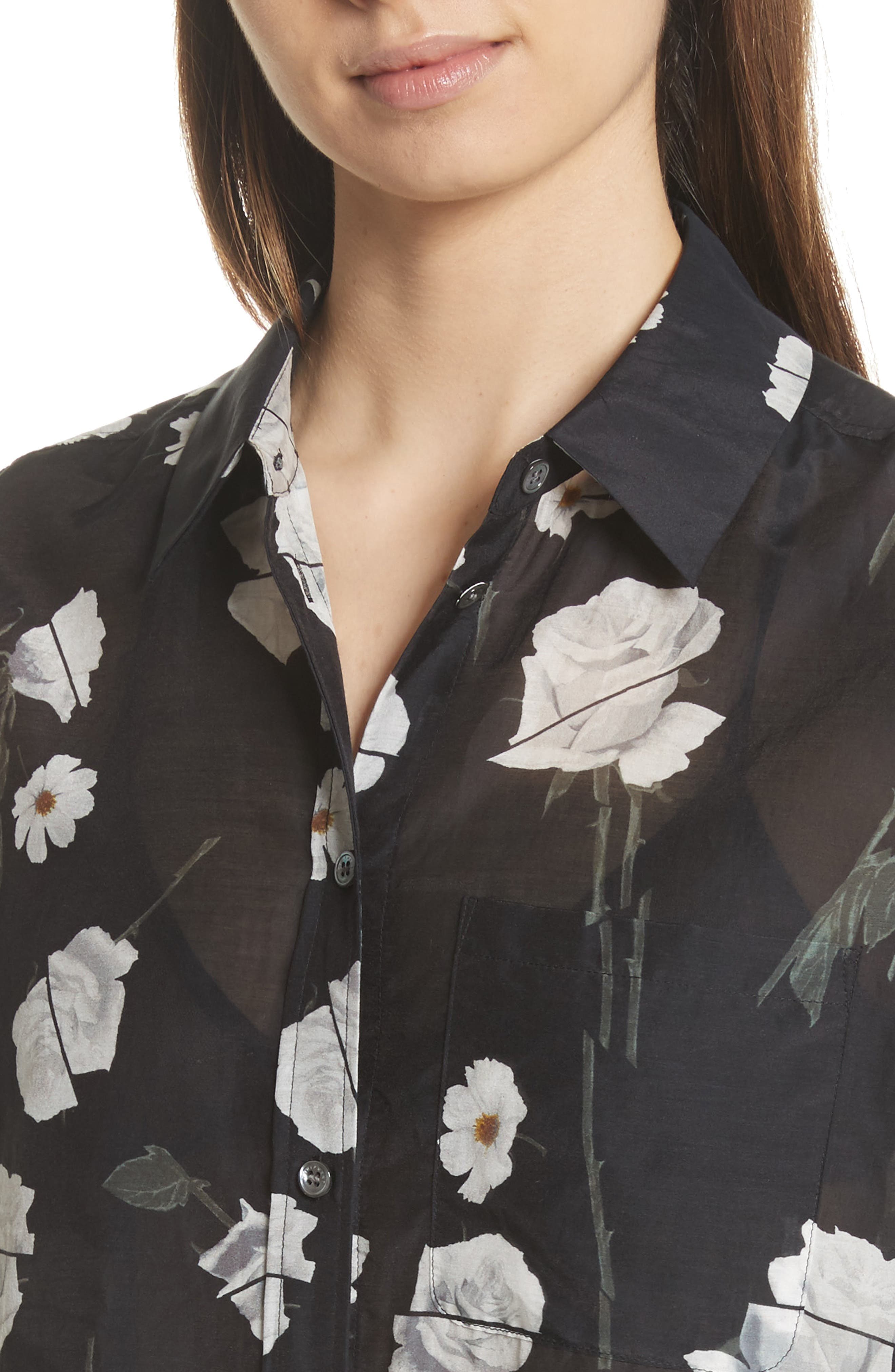 Daddy Floral Cotton & Silk Shirt,                             Alternate thumbnail 4, color,                             True Black Multi
