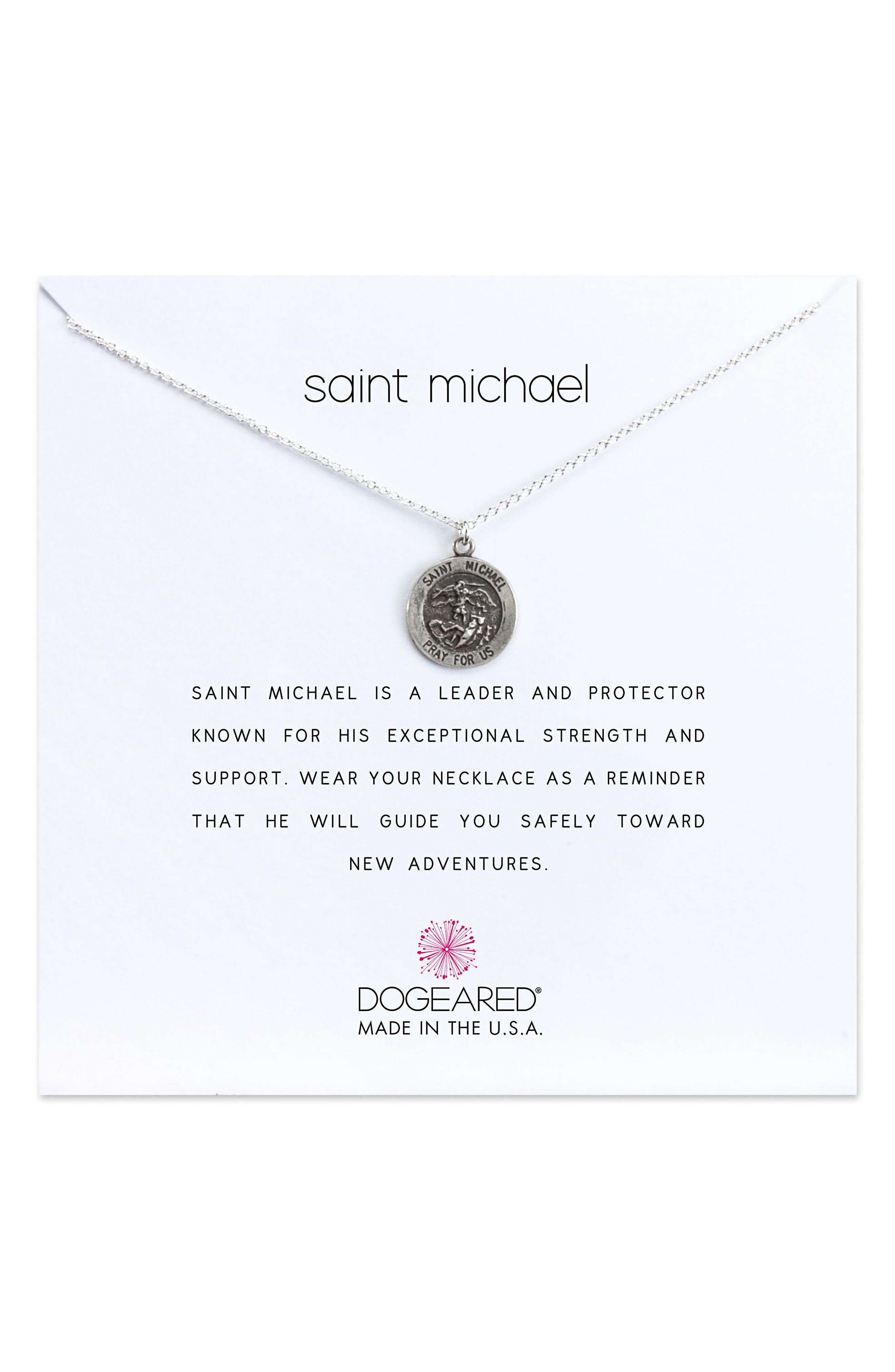 Saint Michael Pendant Necklace,                             Main thumbnail 1, color,                             Silver