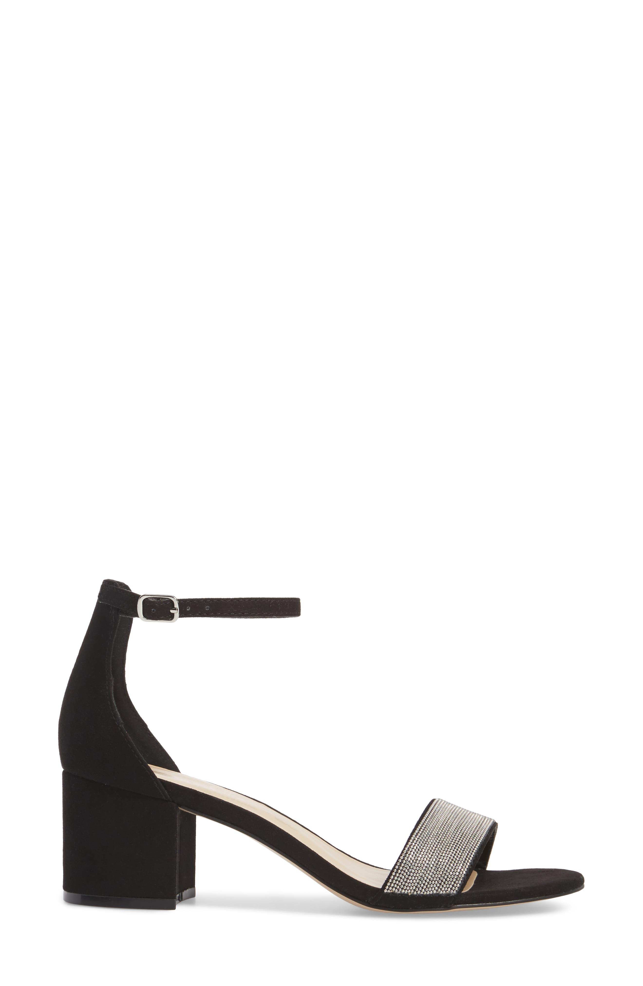 Jazmine Ankle Strap Sandal,                             Alternate thumbnail 3, color,                             Black Suede
