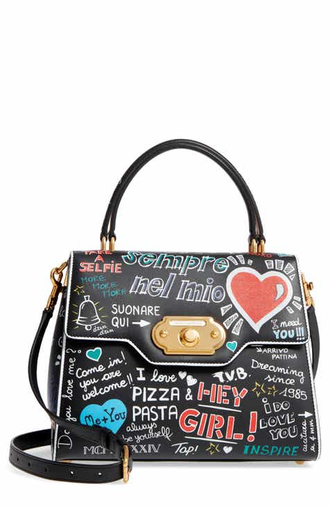 Dolce Gabbana Welcome Graffiti Leather Satchel