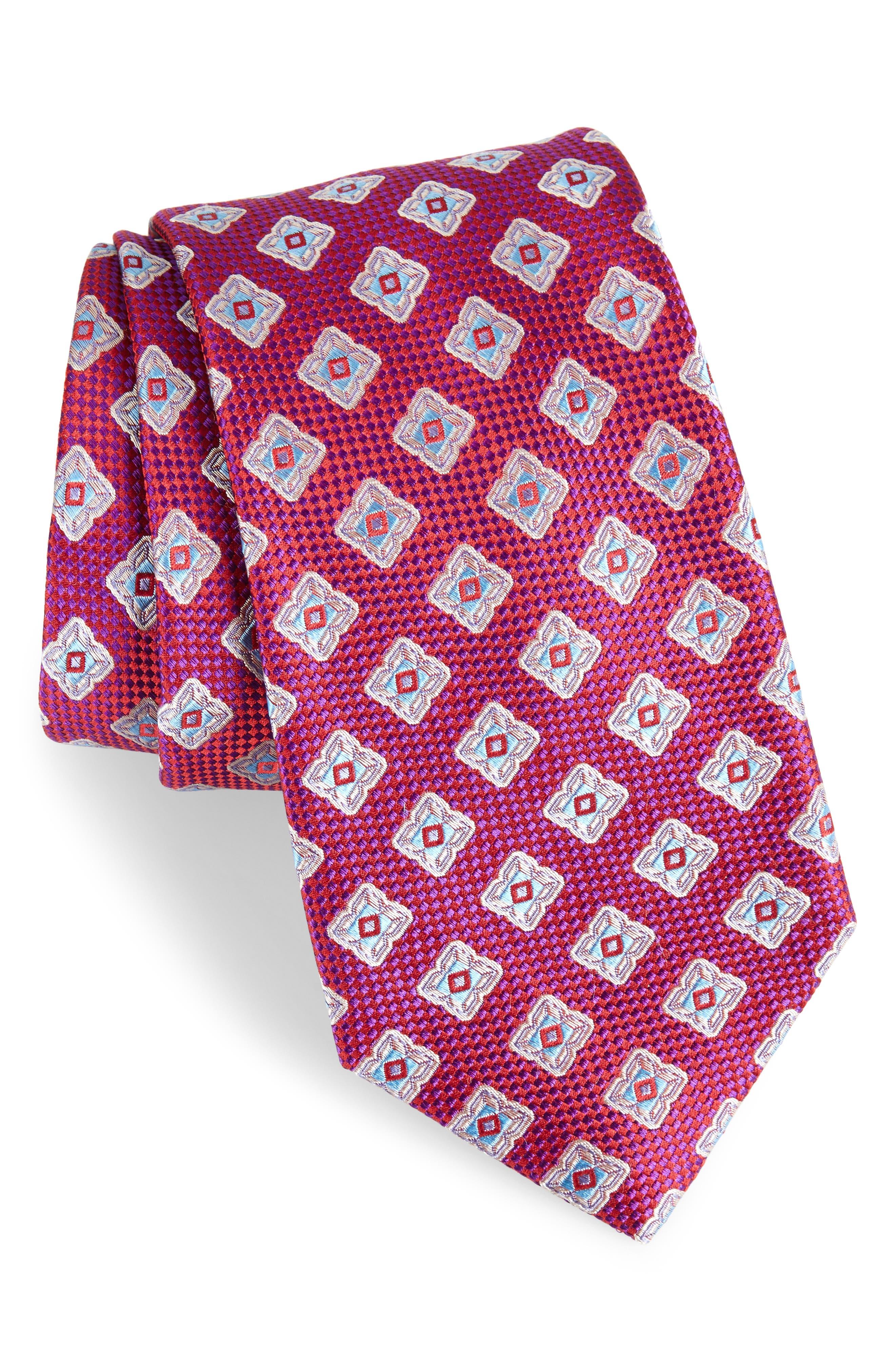 Ethan Medallion Silk Tie,                         Main,                         color, Fuchsia