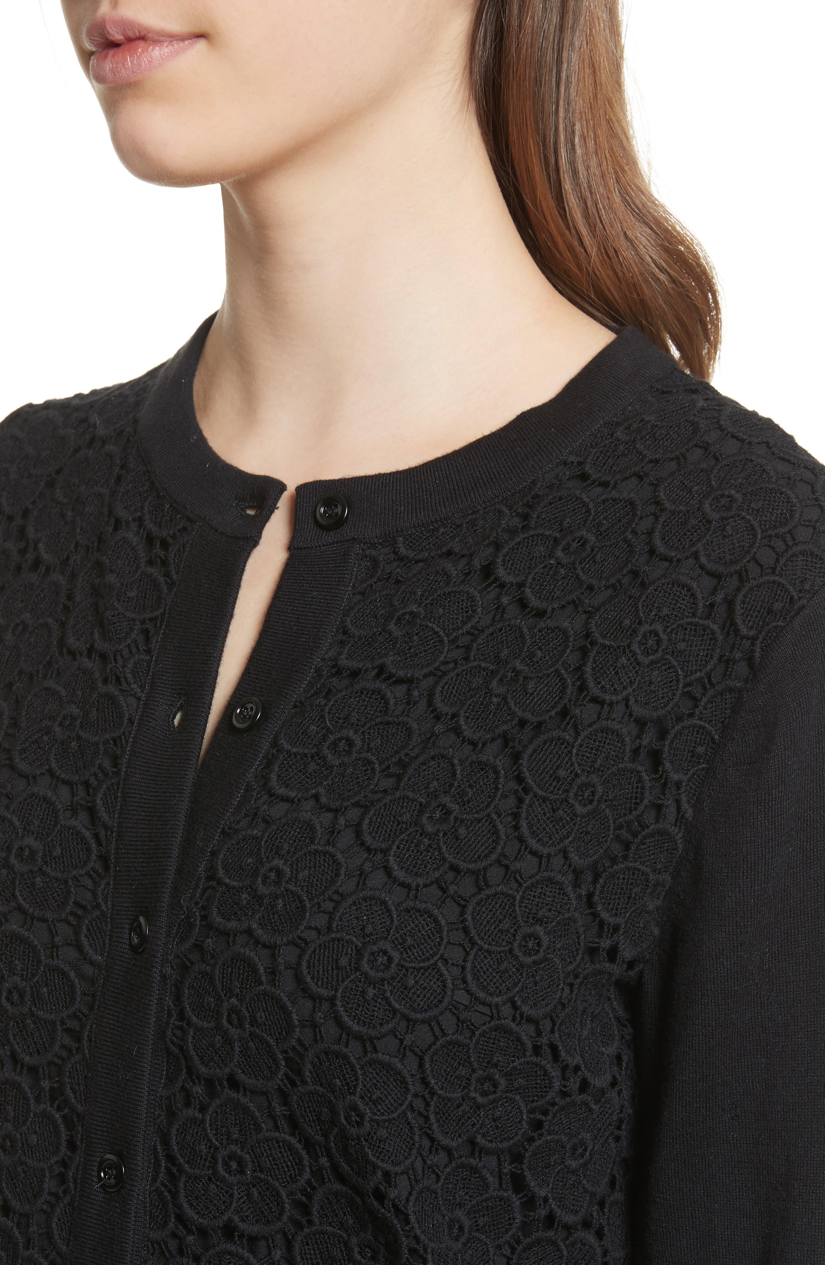 bloom floral lace cardigan,                             Alternate thumbnail 4, color,                             Black