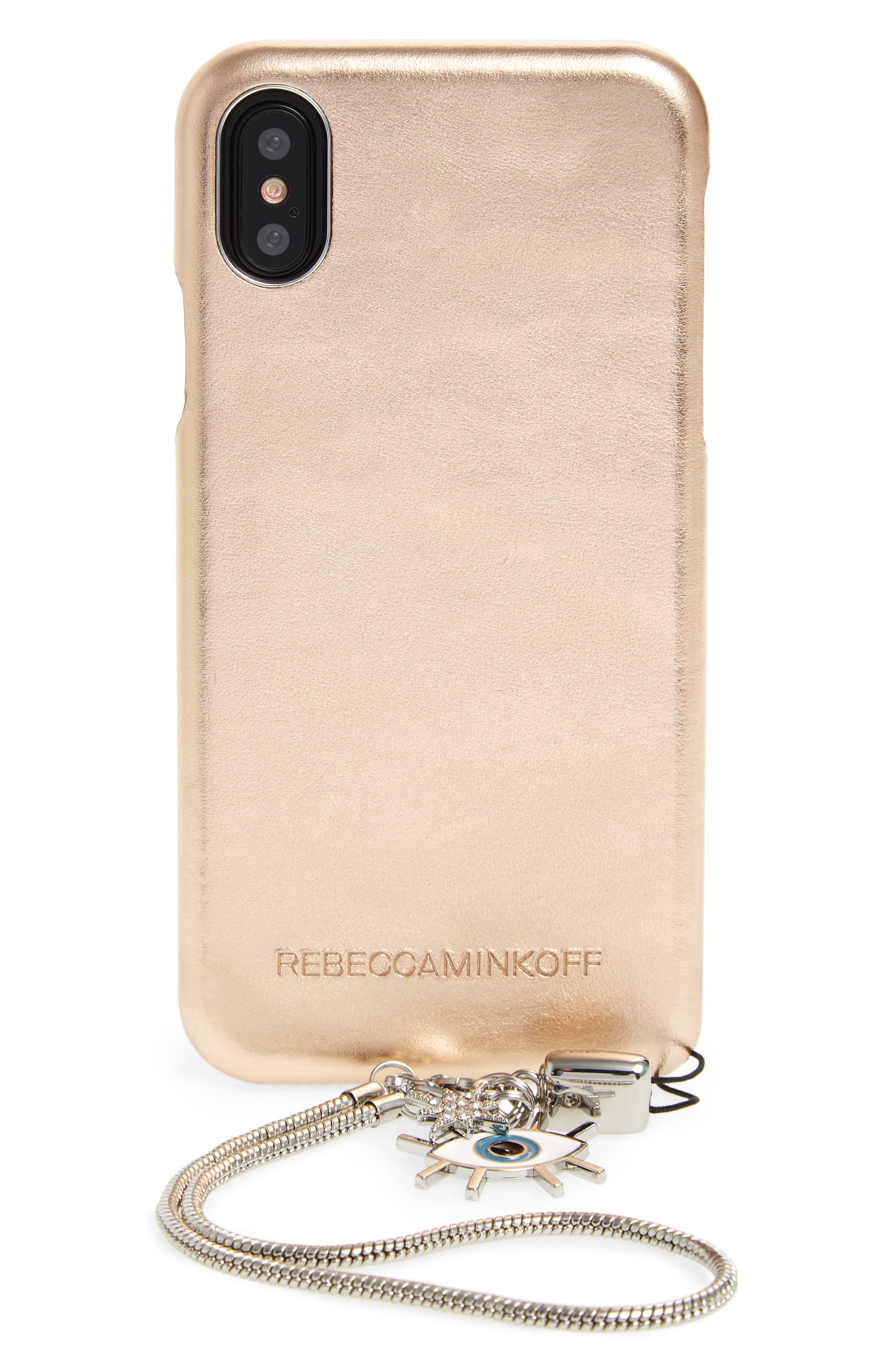 Rebecca Minkoff Metallic Leather iPhone X Wristlet Case with Charms