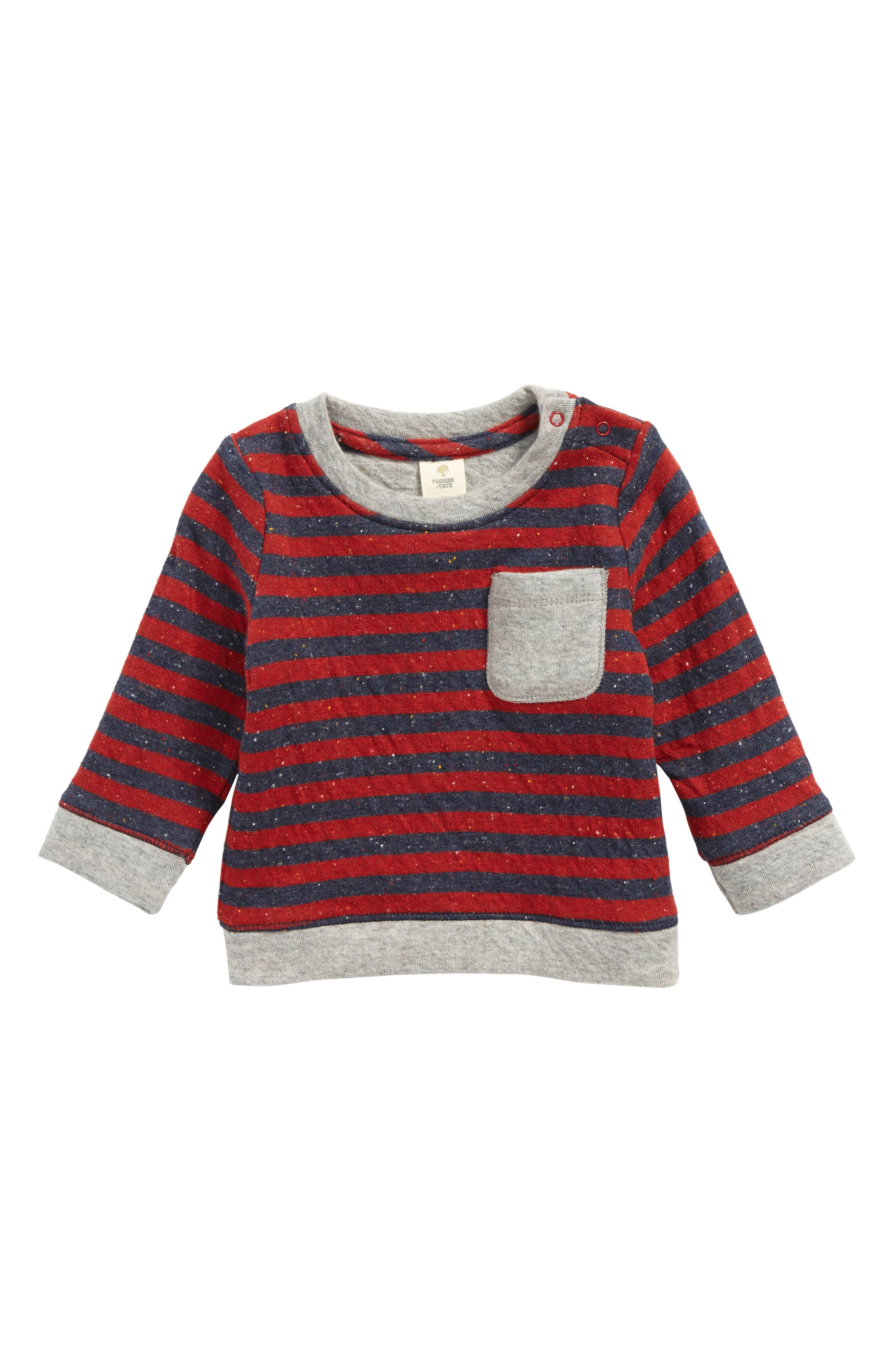 Pocket T-Shirt,                         Main,                         color, Red Chili- Navy Stripe