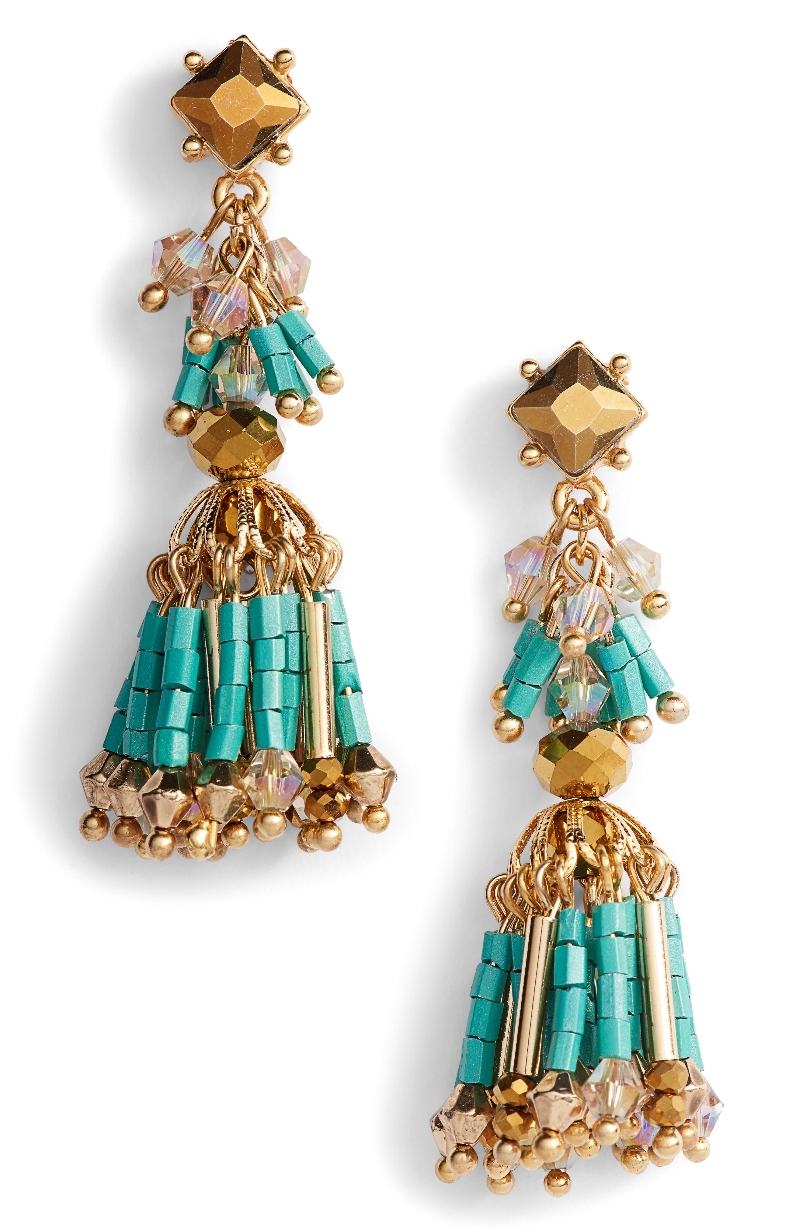 Beaded Fringe Drop Earrings,                             Main thumbnail 1, color,                             Turquoise/ Gold