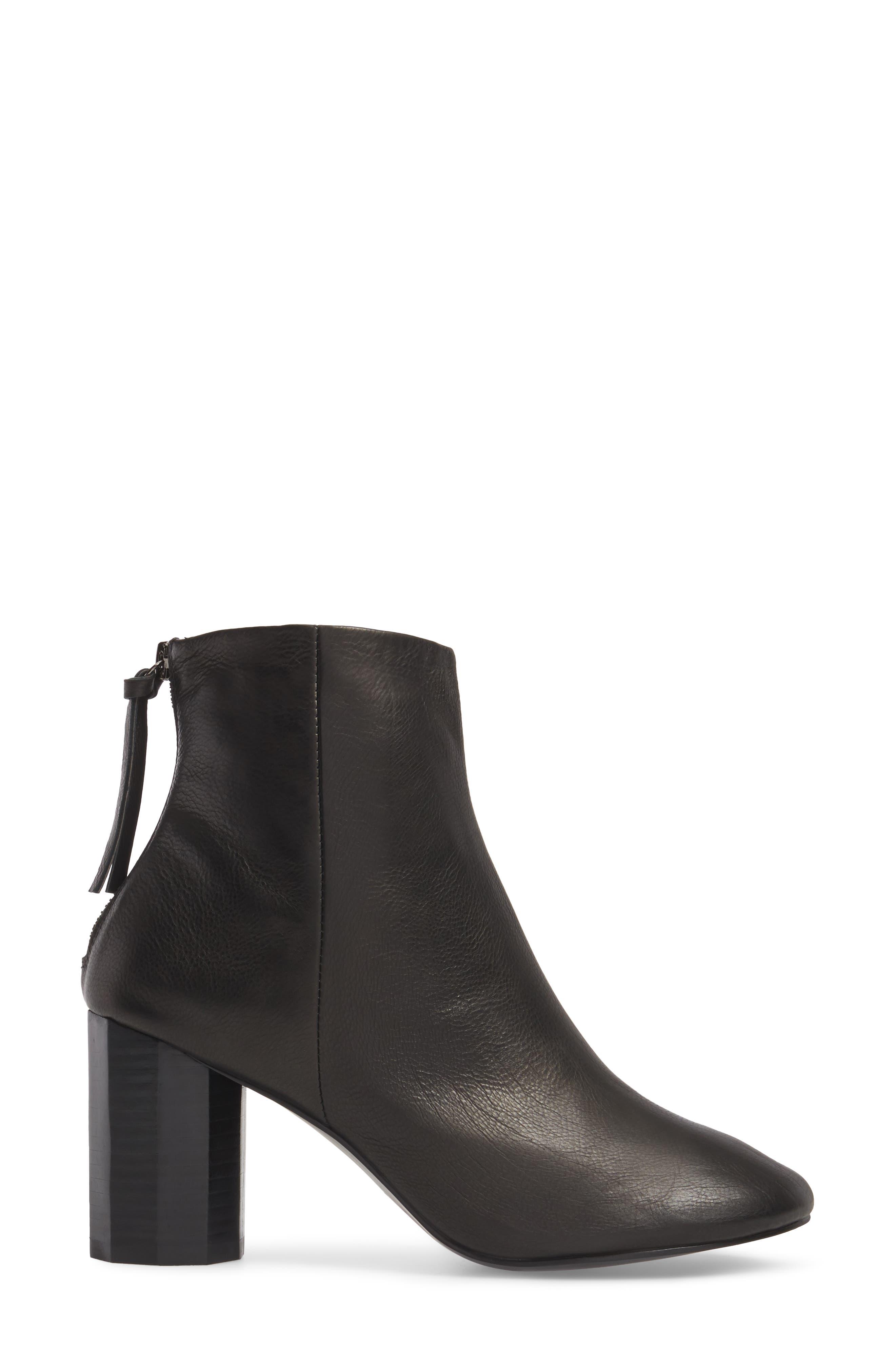 Sadie Column Heel Bootie,                             Alternate thumbnail 3, color,                             Black Leather
