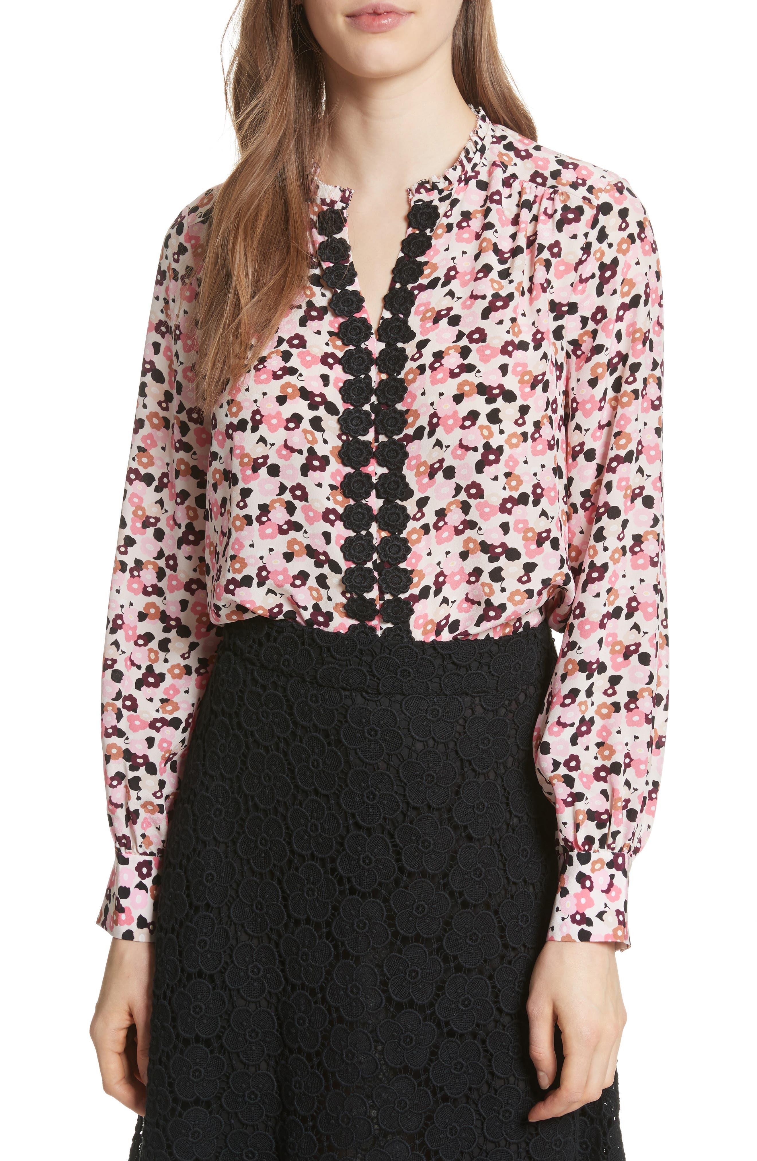 bloom print silk blouse,                         Main,                         color, Rose Dew