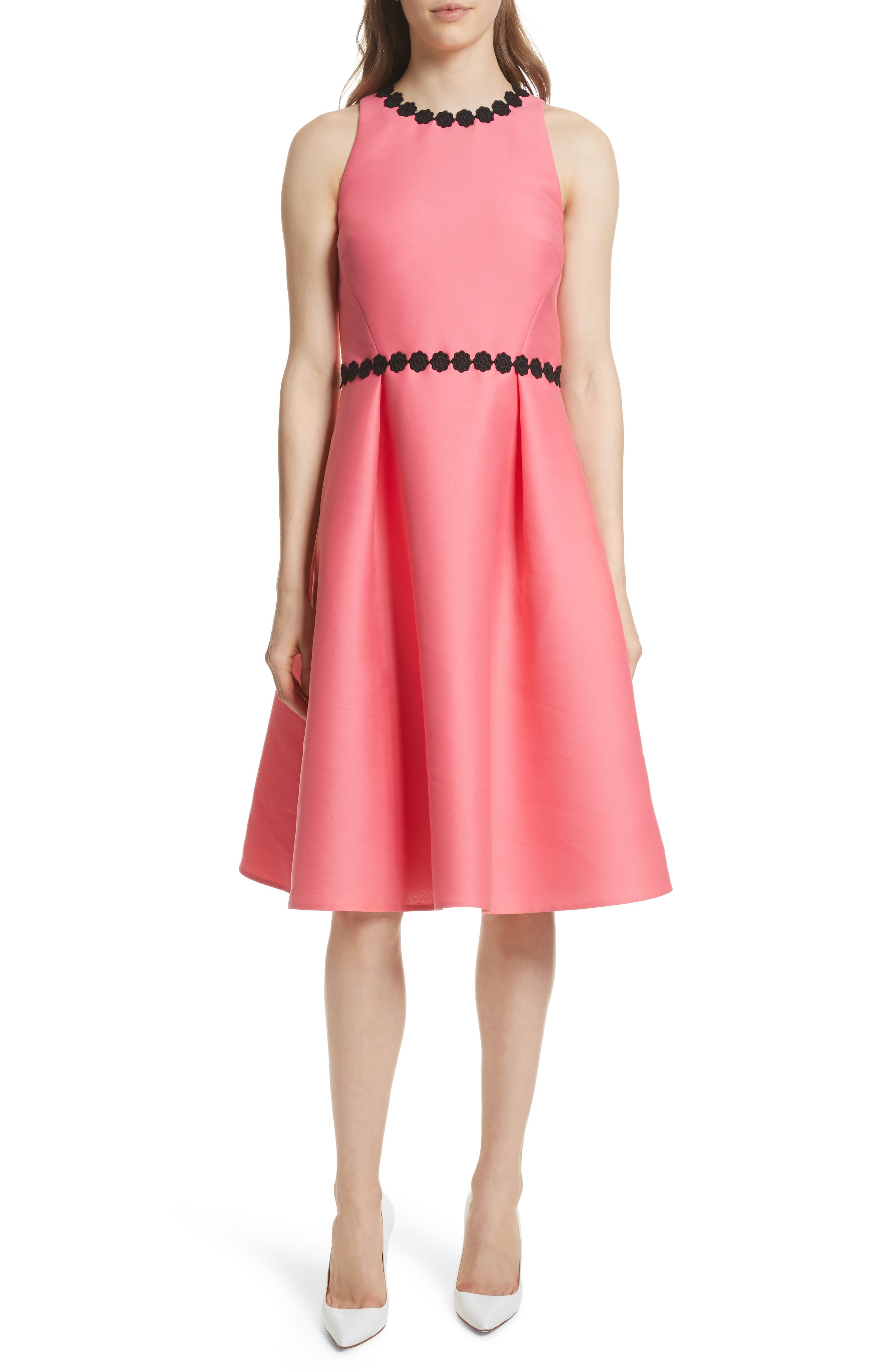 floral lace trim mikado fit & flare dress,                             Main thumbnail 1, color,                             Petunia