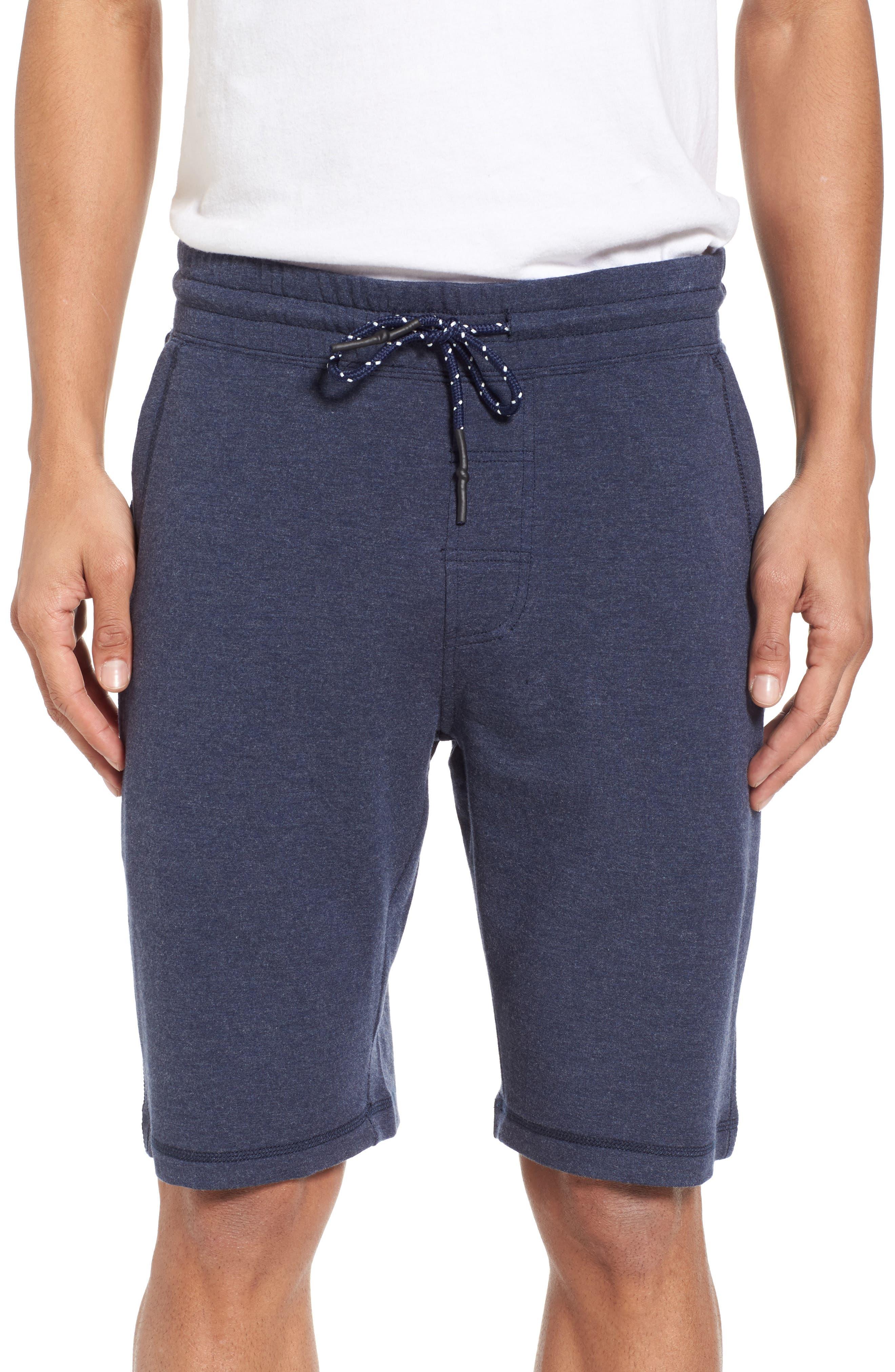Brushback Fleece Shorts,                         Main,                         color, Navy Heather