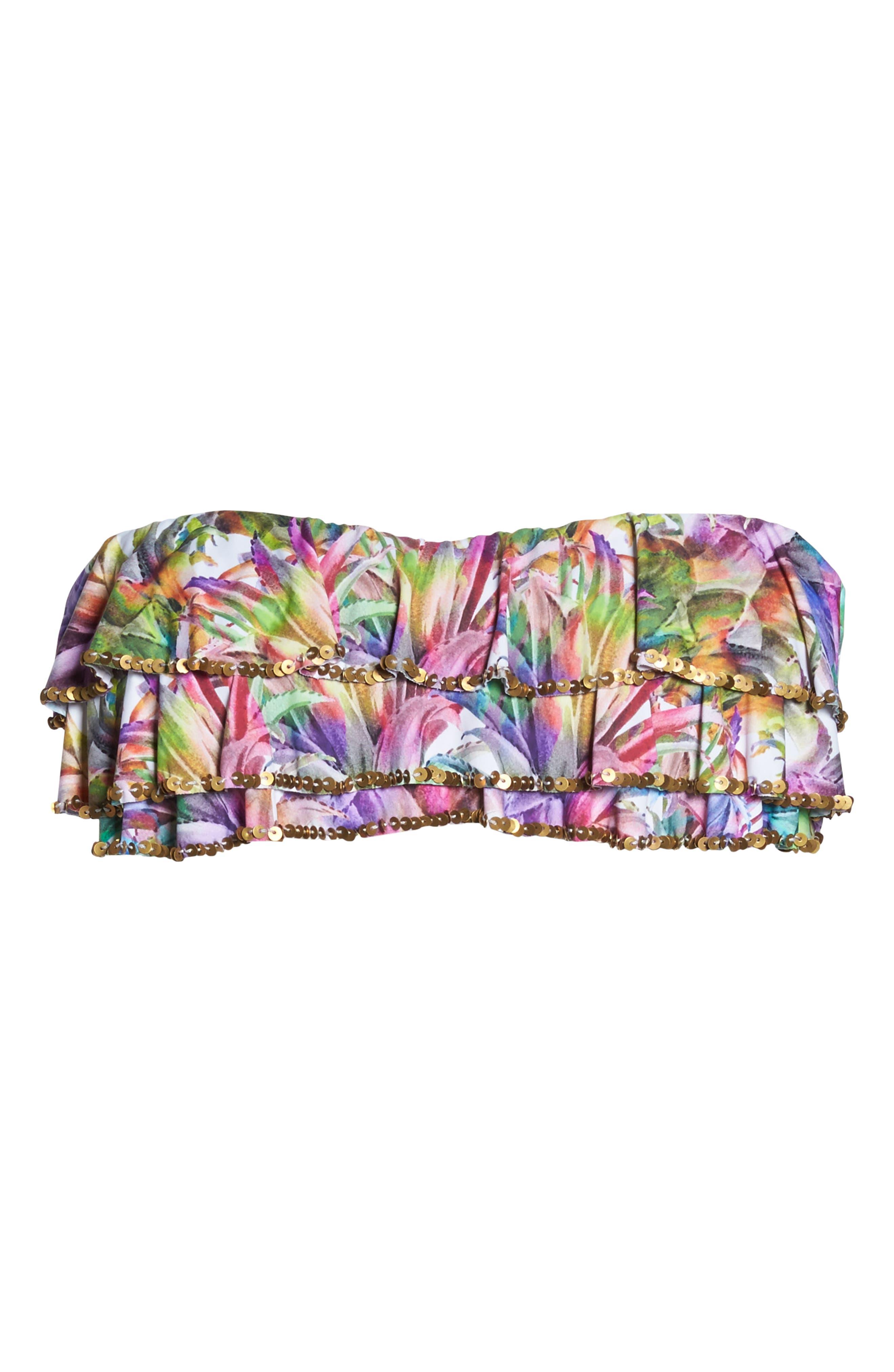 Sequin Ruffle Bandeau Bikini Top,                             Alternate thumbnail 9, color,                             Lanai