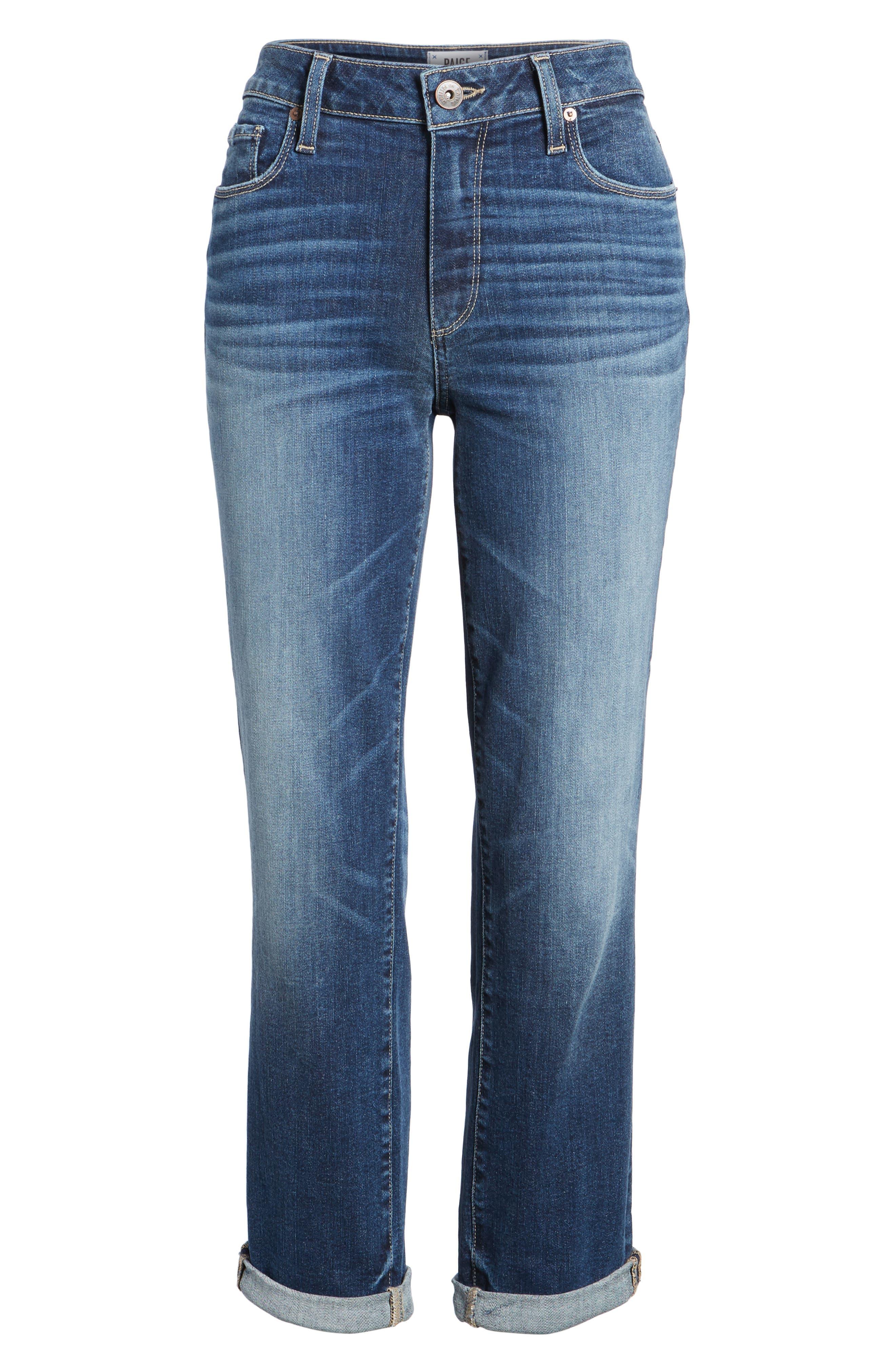 Jimmy Jimmy High Waist Crop Boyfriend Jeans,                             Alternate thumbnail 7, color,                             Blue