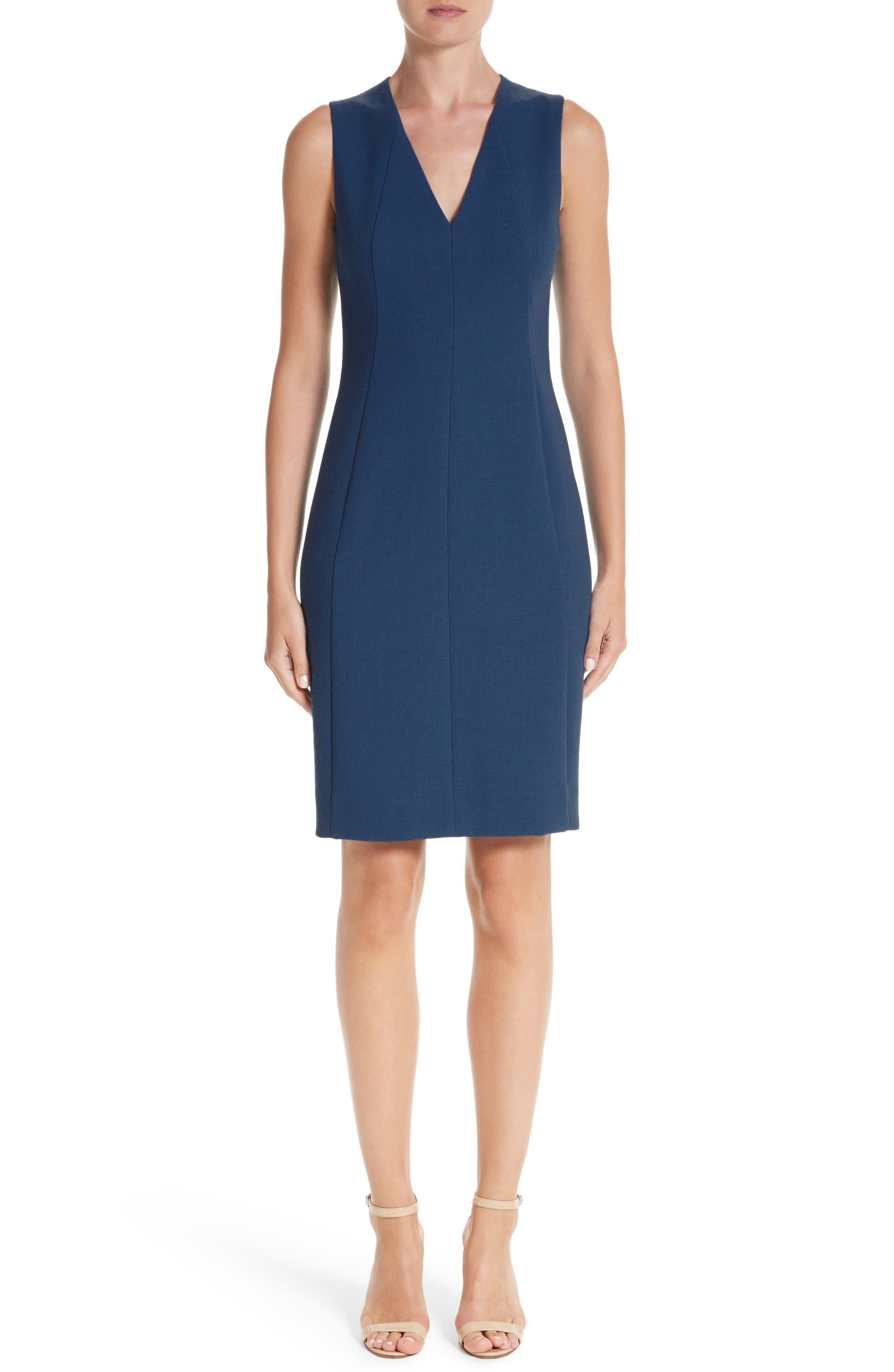 Double Face Wool Crepe Sheath Dress,                         Main,                         color, Atlantic
