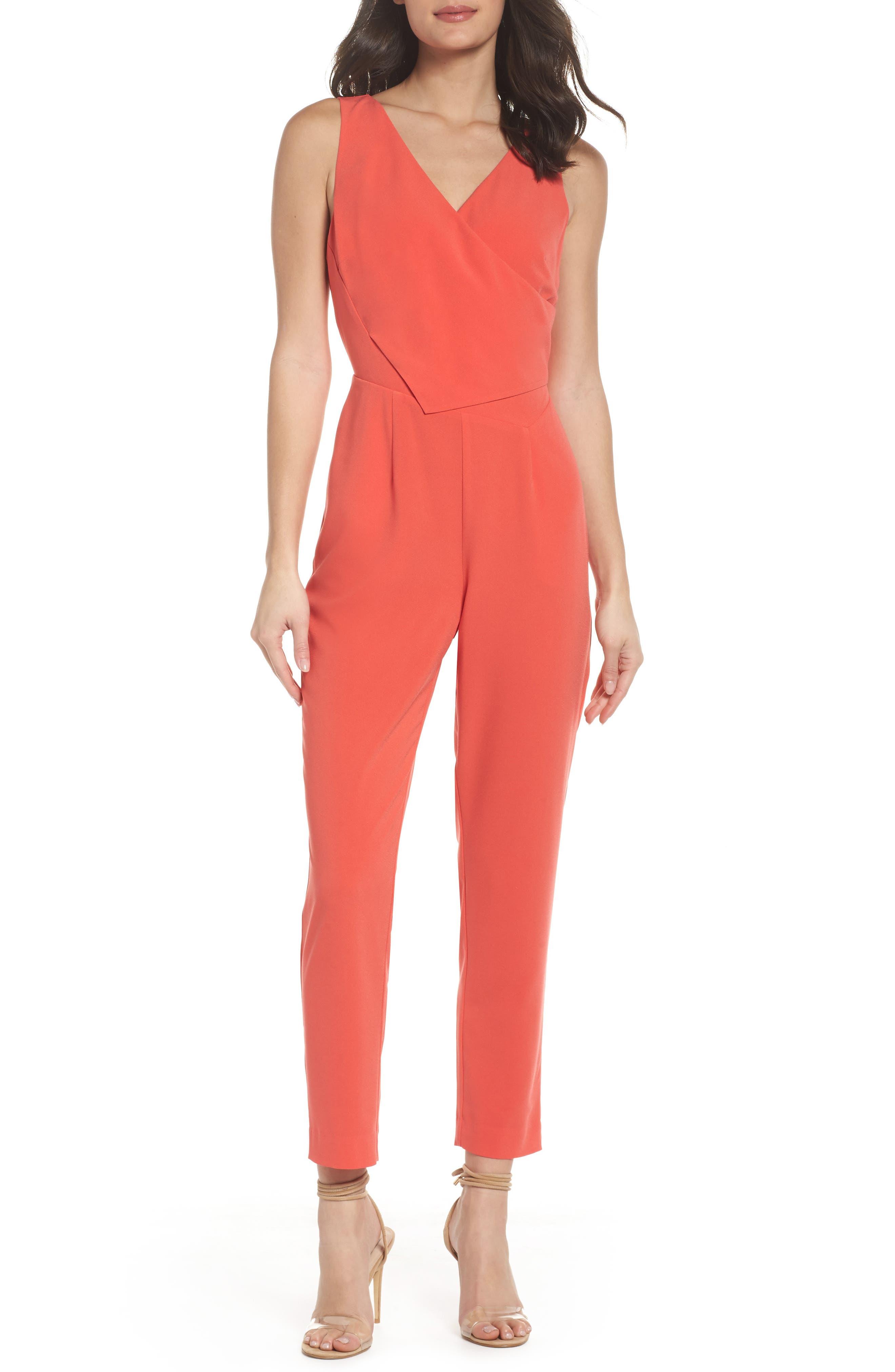 Asymmetrical Pleat Jumpsuit,                         Main,                         color, Coral