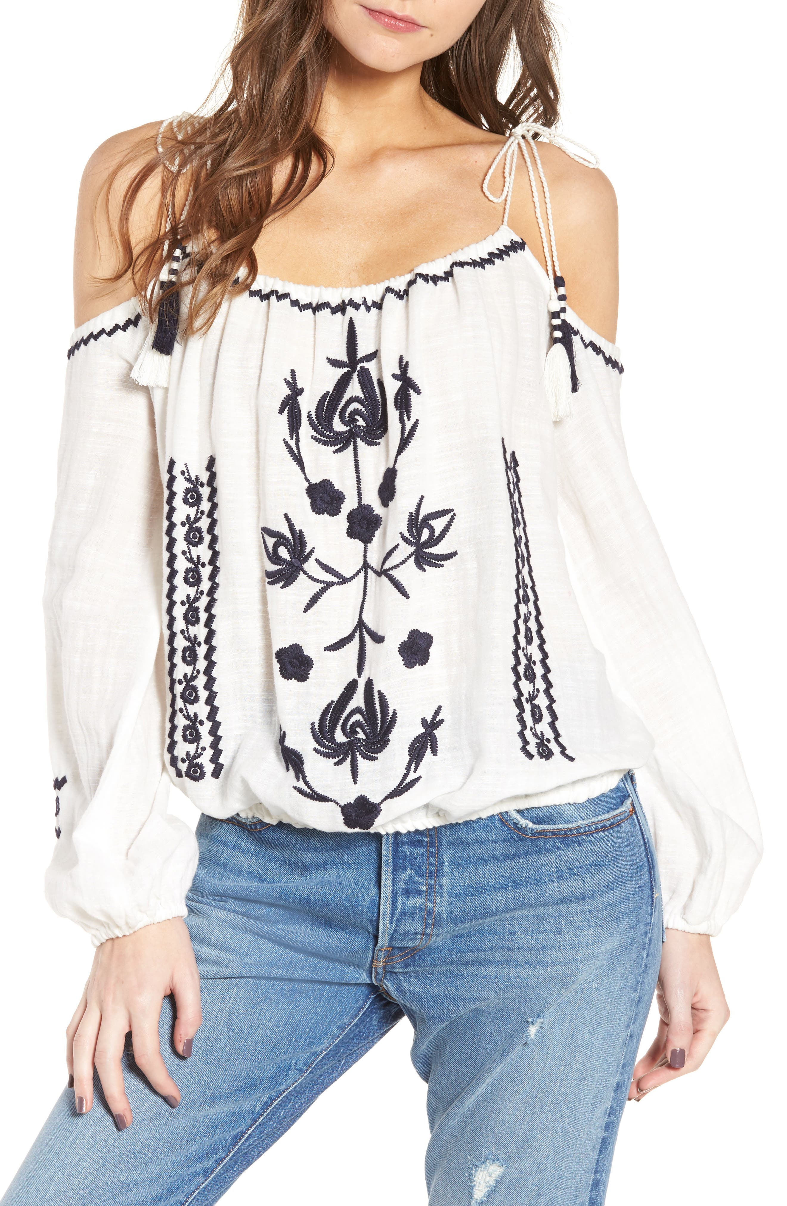 Embroidered Tassel Cold Shoulder Top,                             Main thumbnail 1, color,                             Ivory Egret