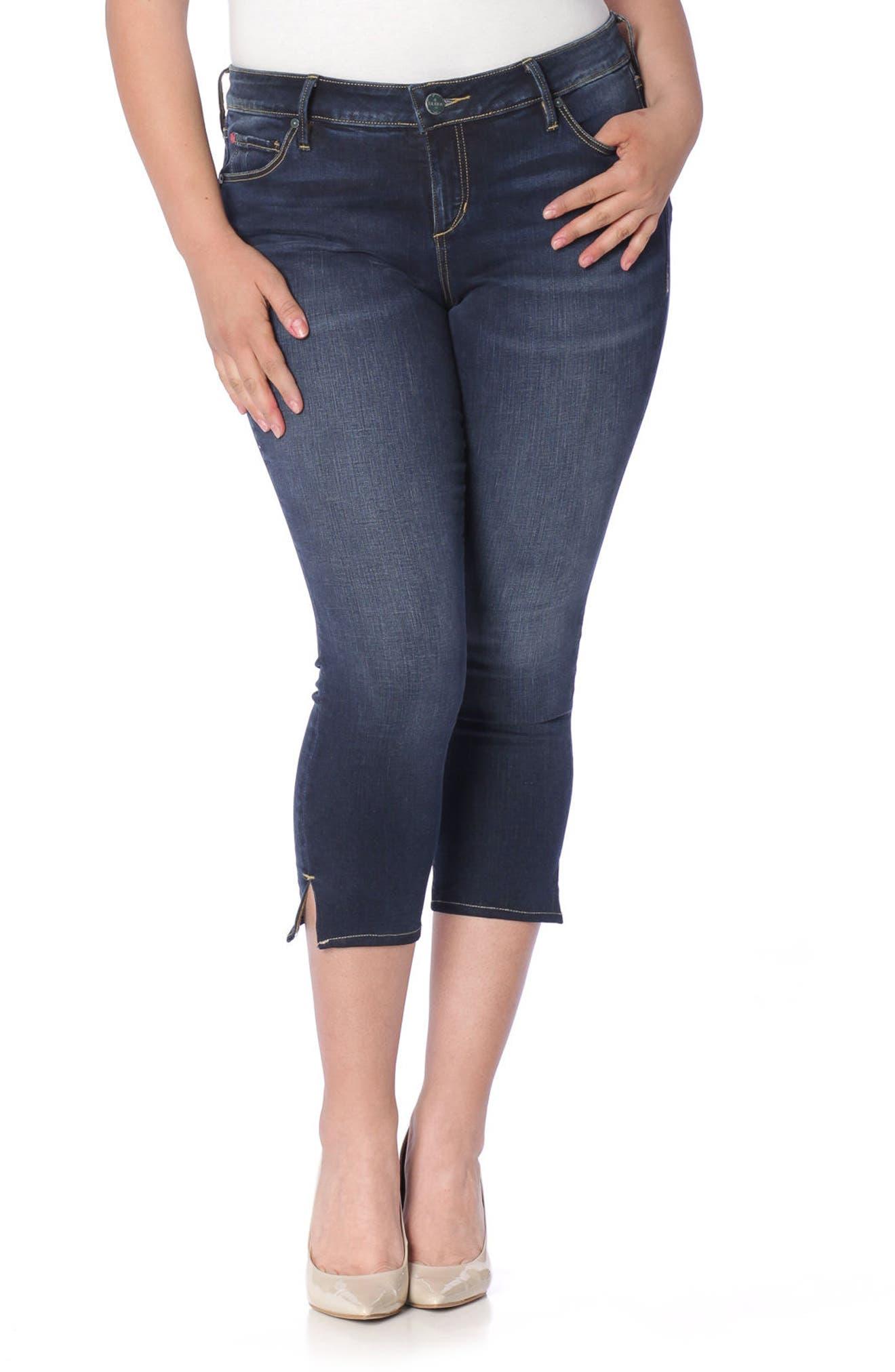 Alternate Image 1 Selected - SLINK Jeans Side Vent Crop Jeans (Amber) (Plus Size)